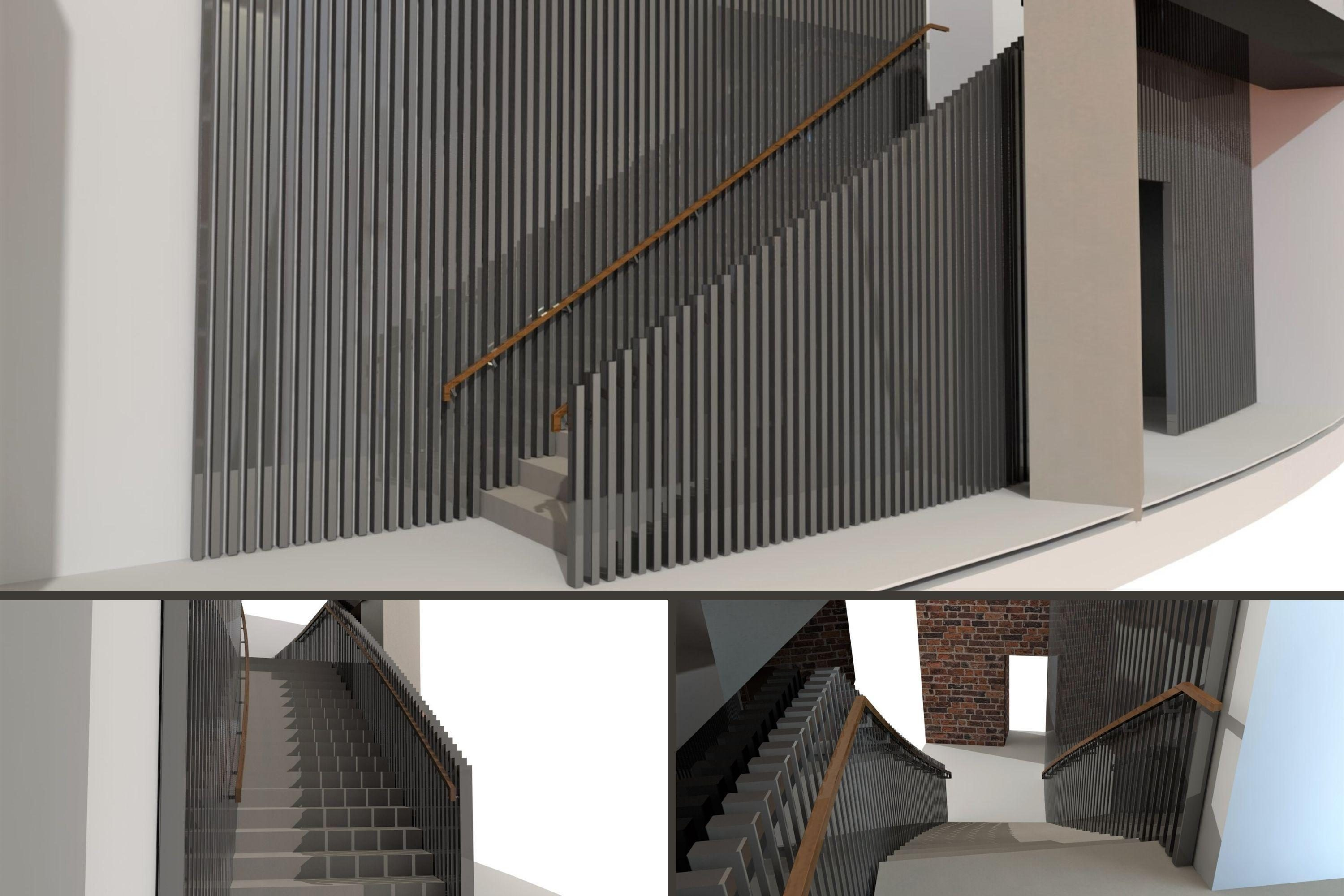 Renders of helical stairs for Royal Albert Hall