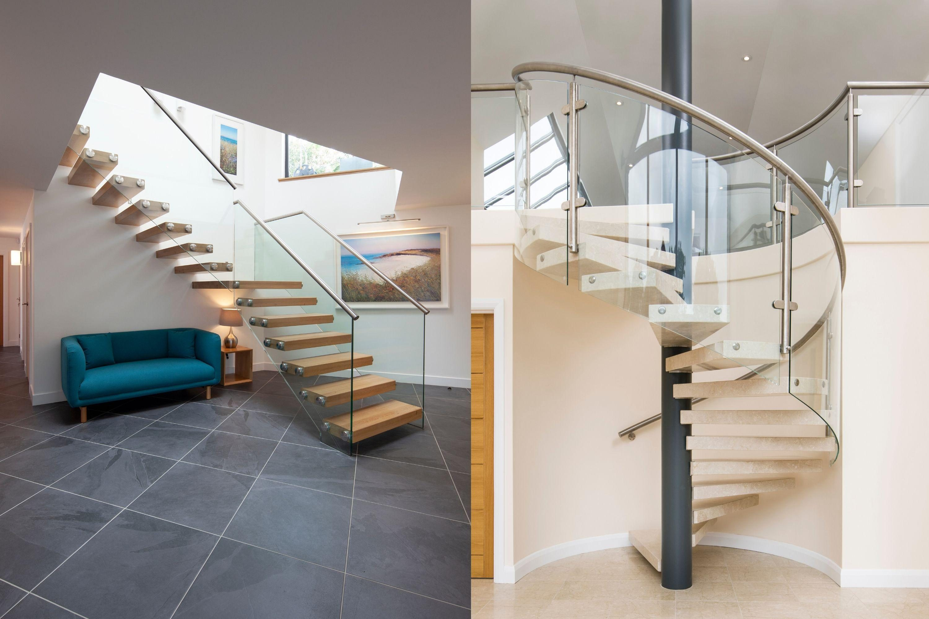 Glass balustrade on floating stairs