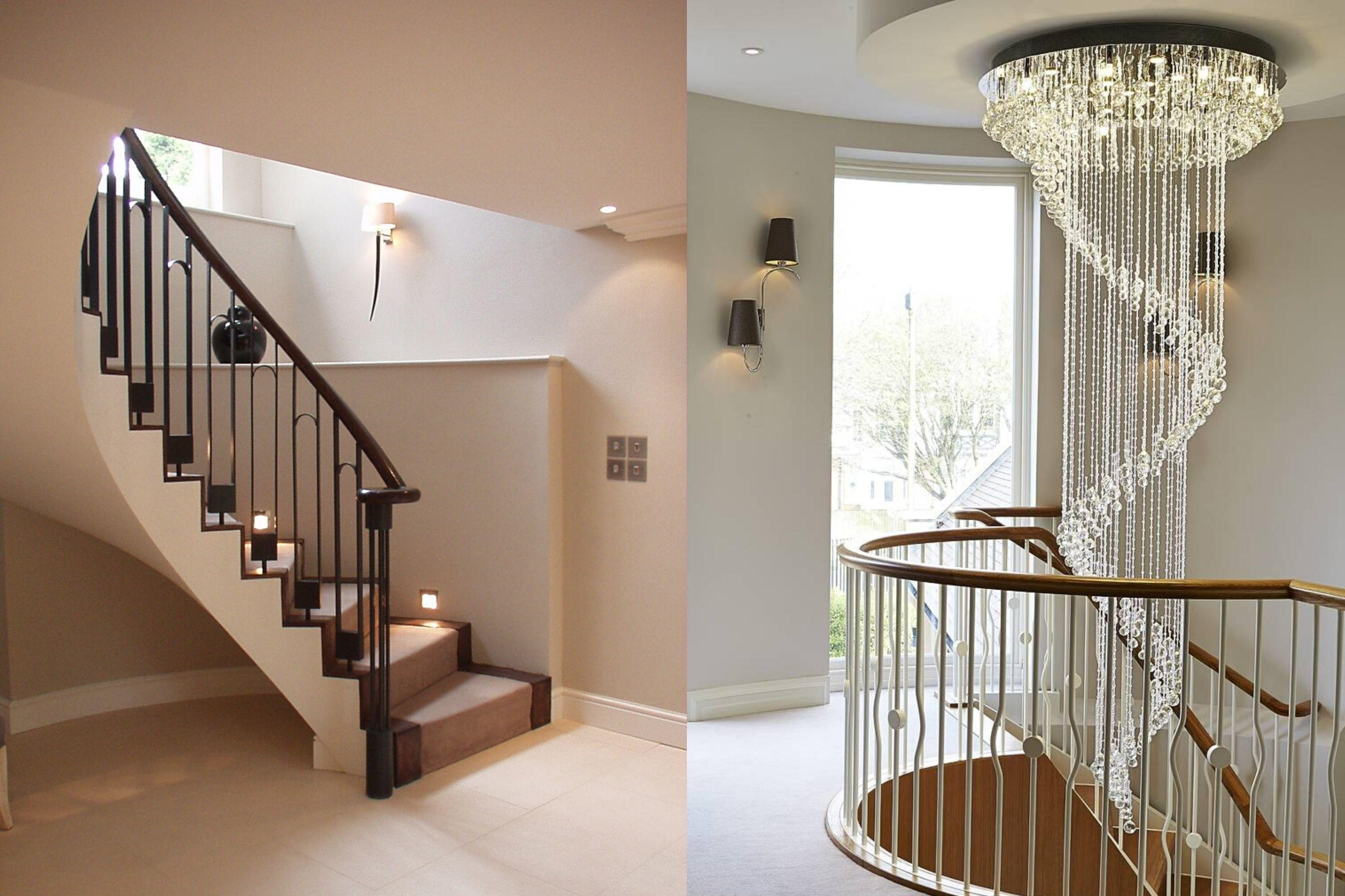 Spindle designs on stair balustrade