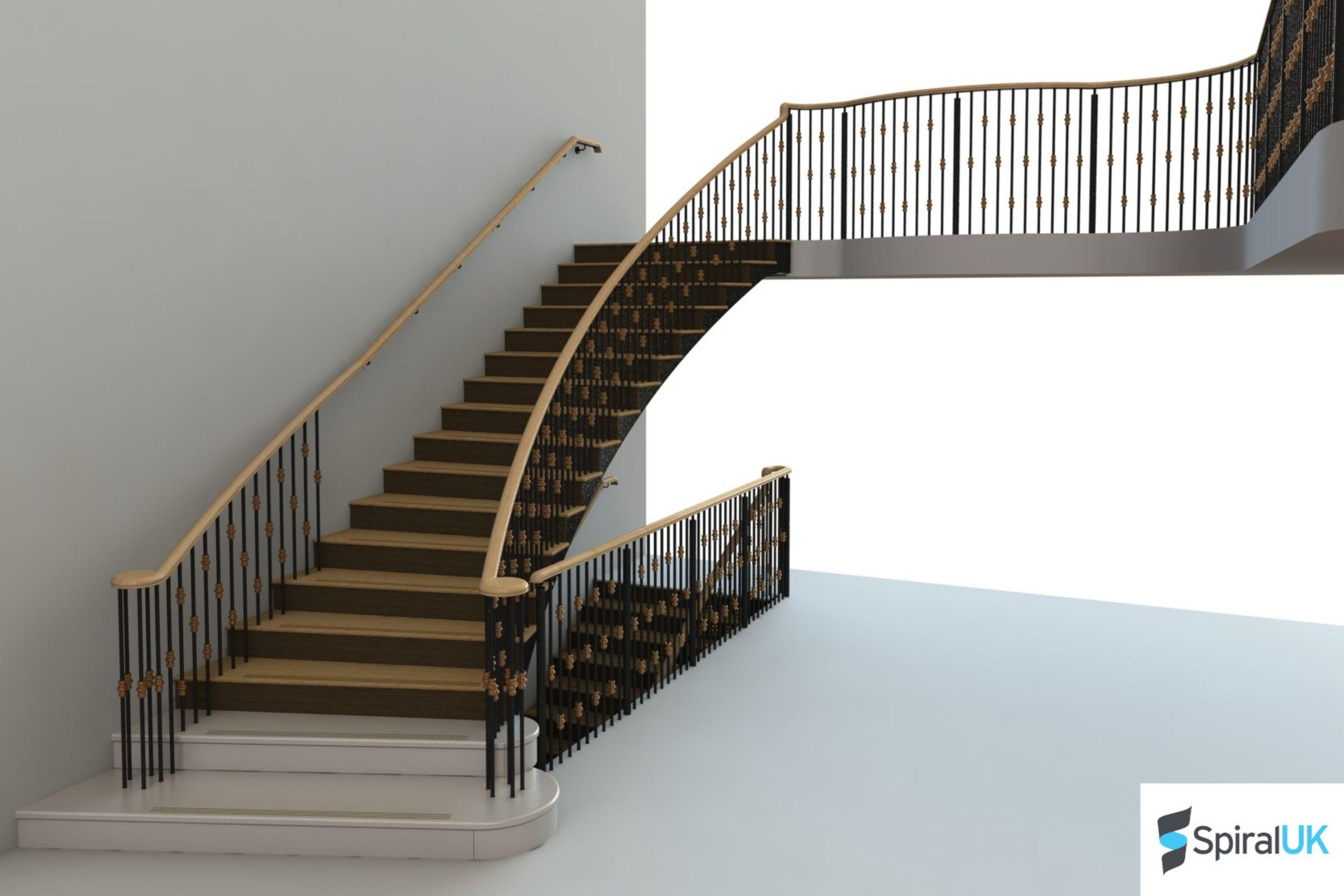 Render of a mock Georgian staircase