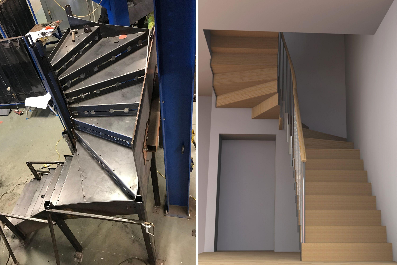 Stair in manufacture alongside render