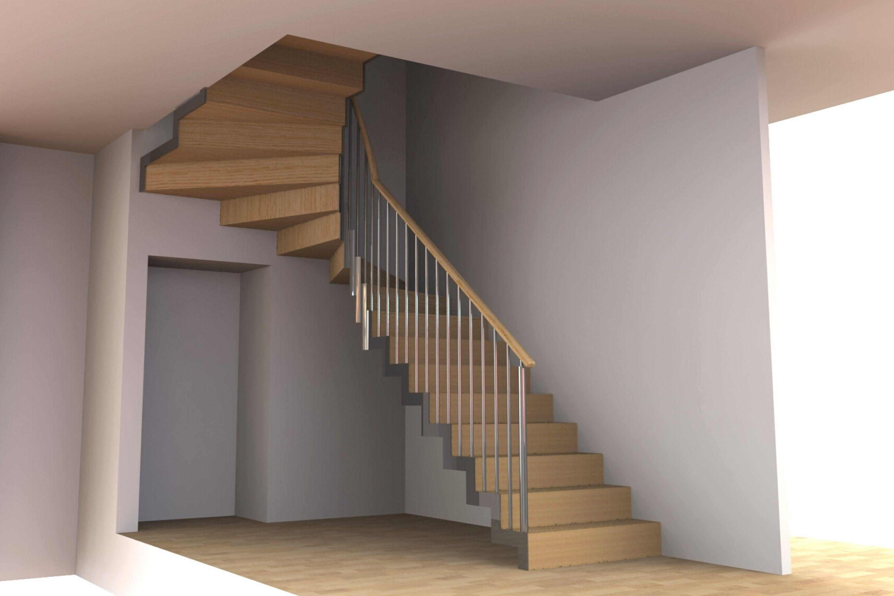 Render of one of bespoke staircases for project Luma