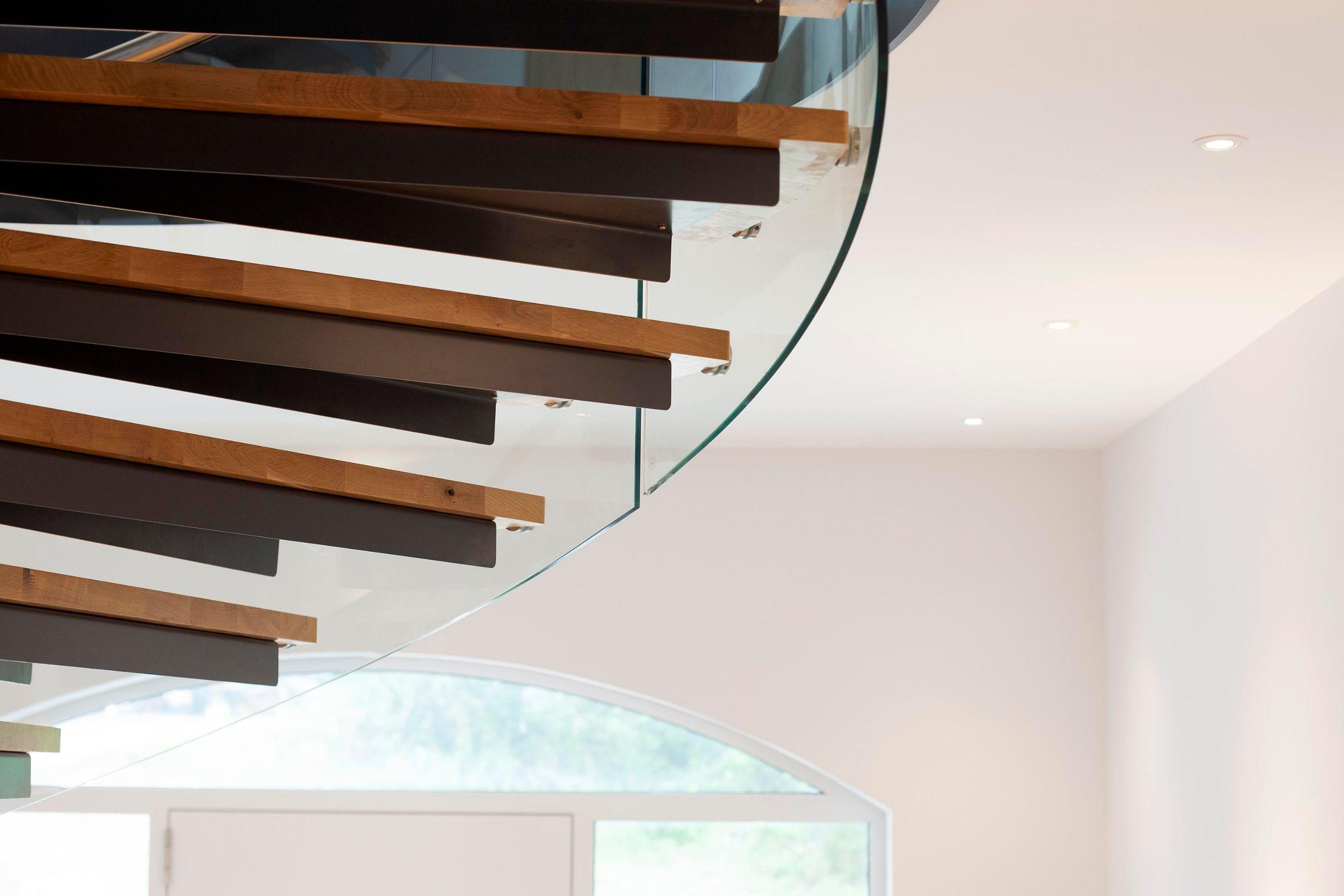 Timber treads on spiral stair