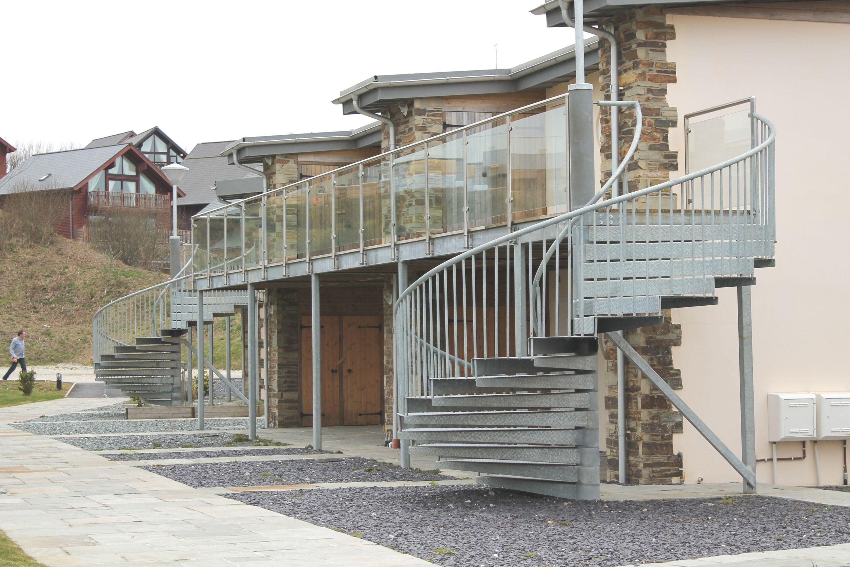 Galvanised external spiral stairs
