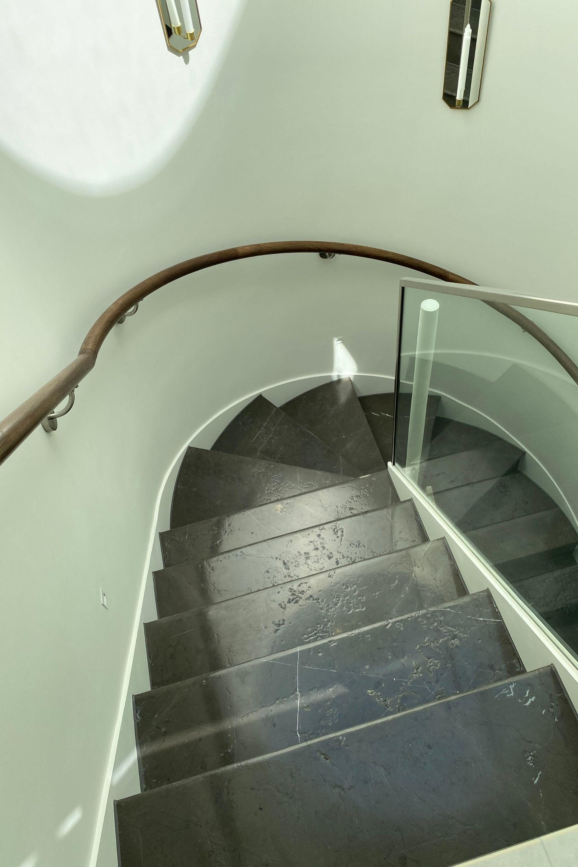 Helical staircase with stone treads