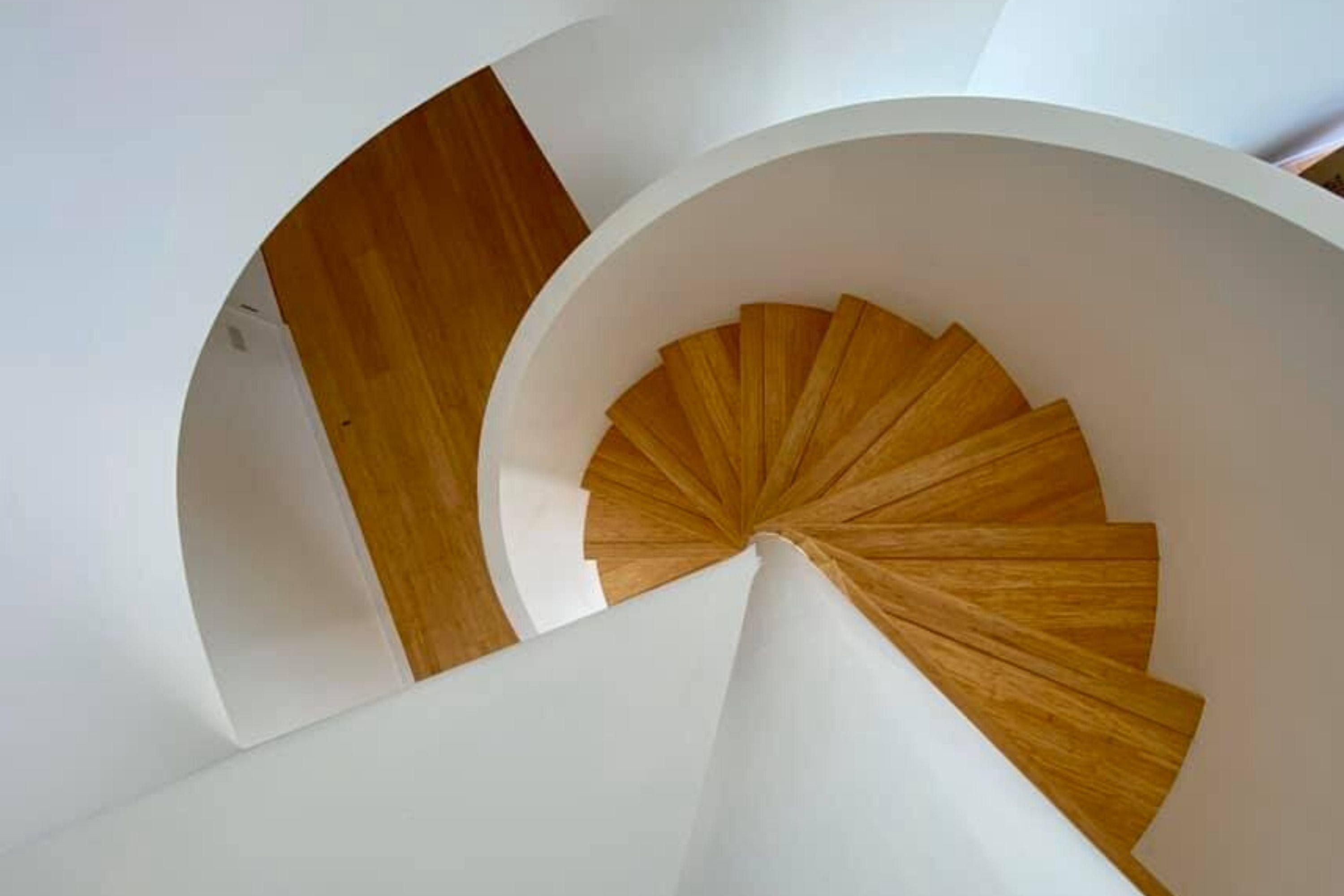 Looking down spiral stairs