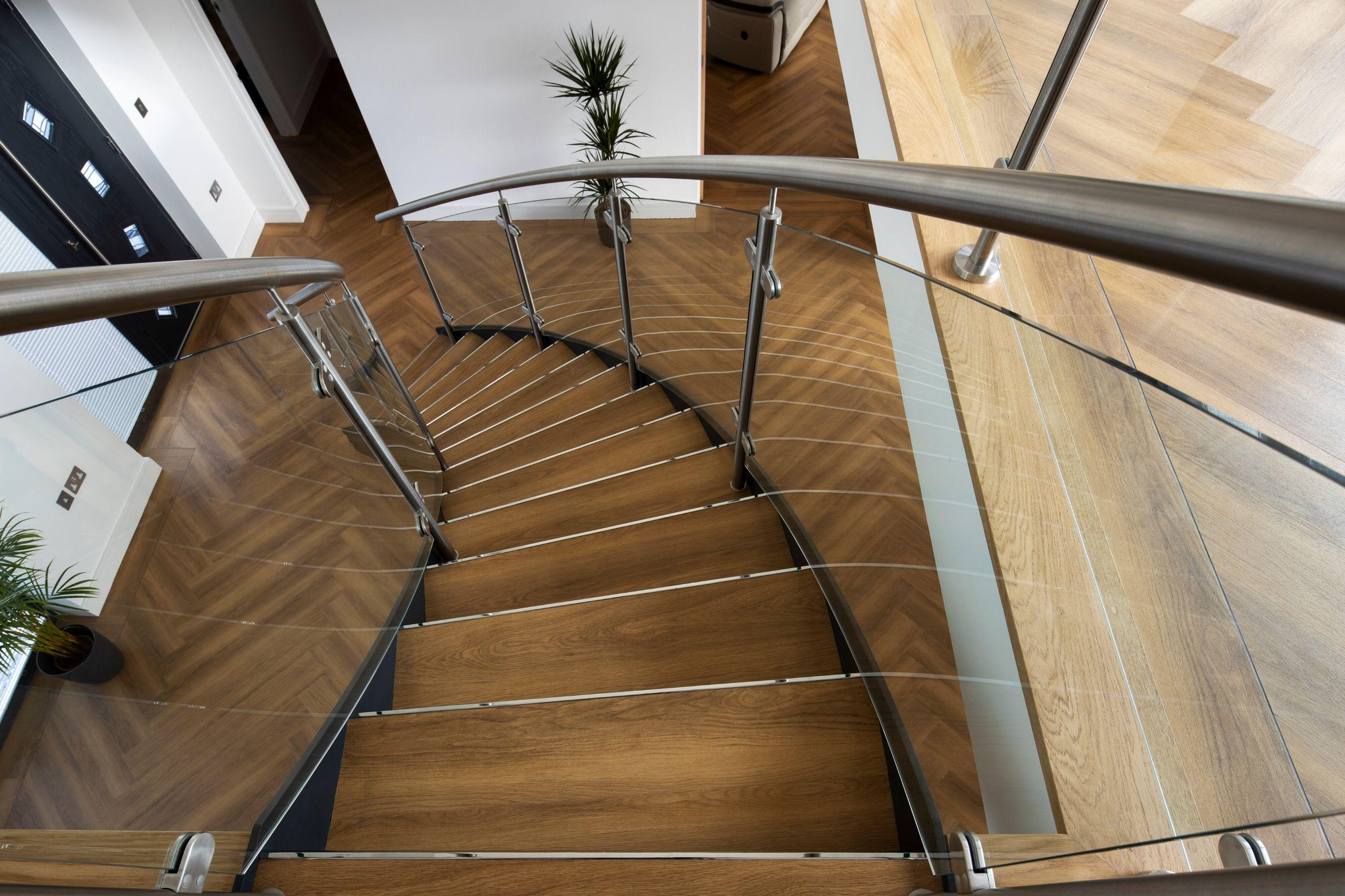 Looking down curved stairs