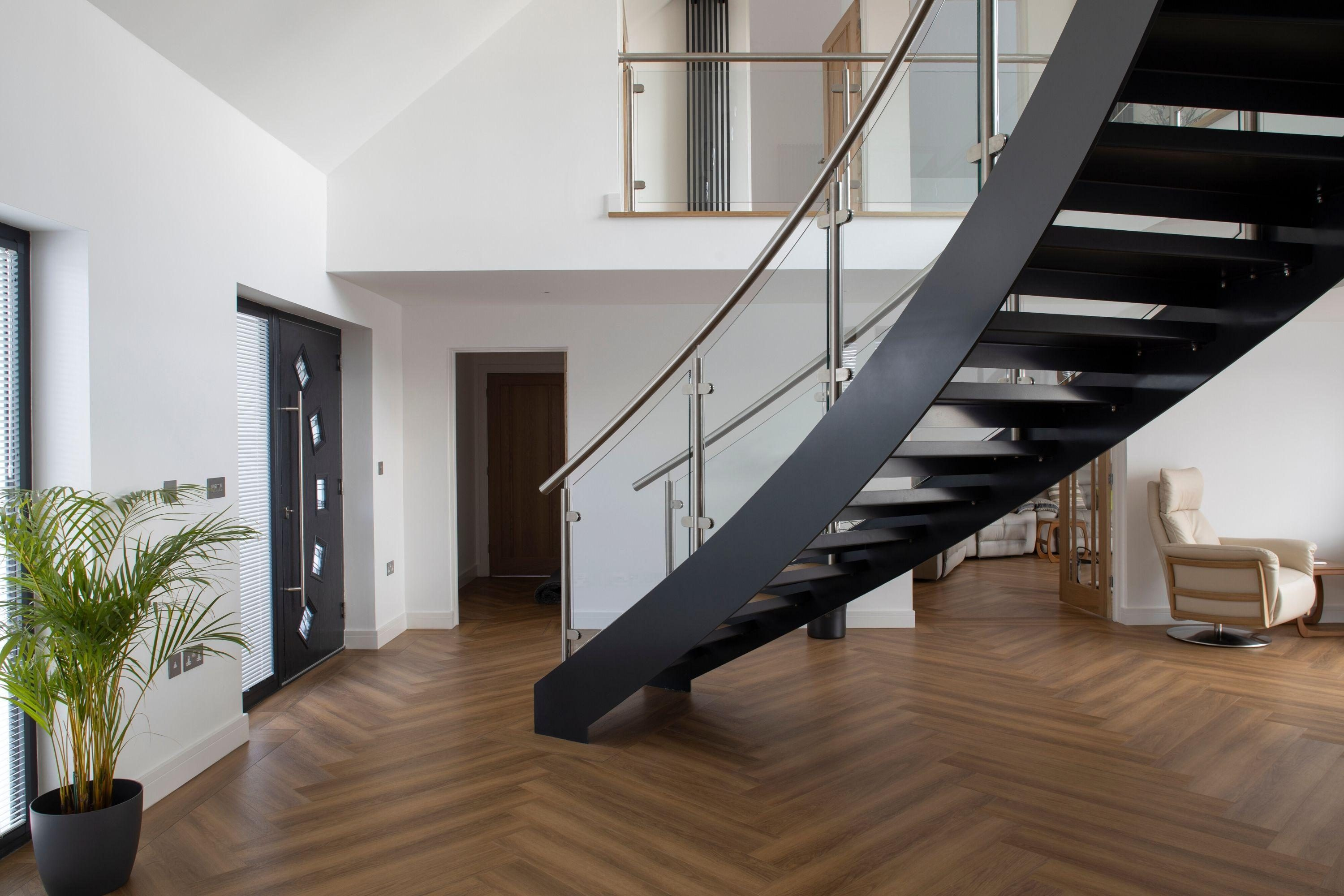 Curved grey staircase