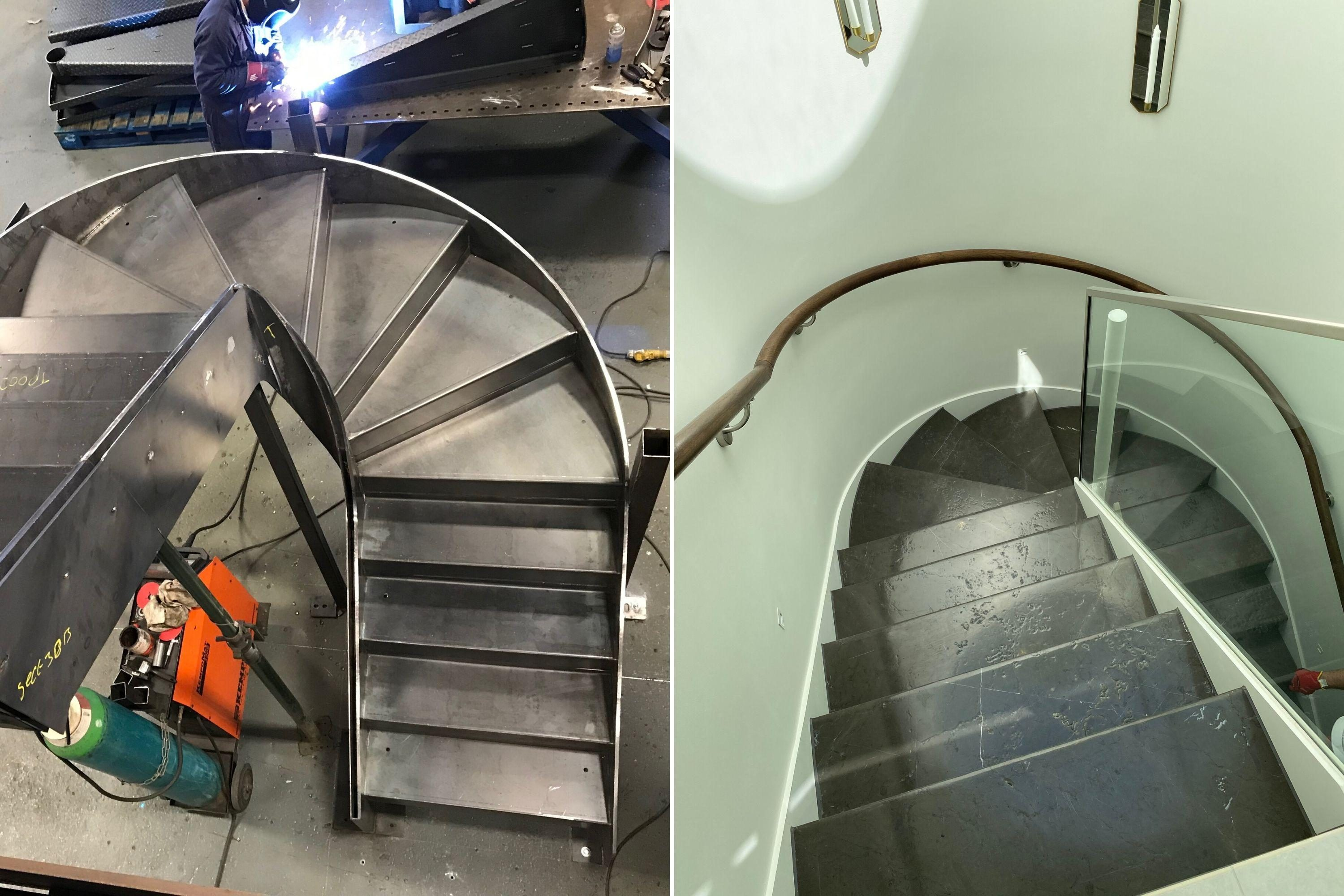 Before and after image of contemporary staircase