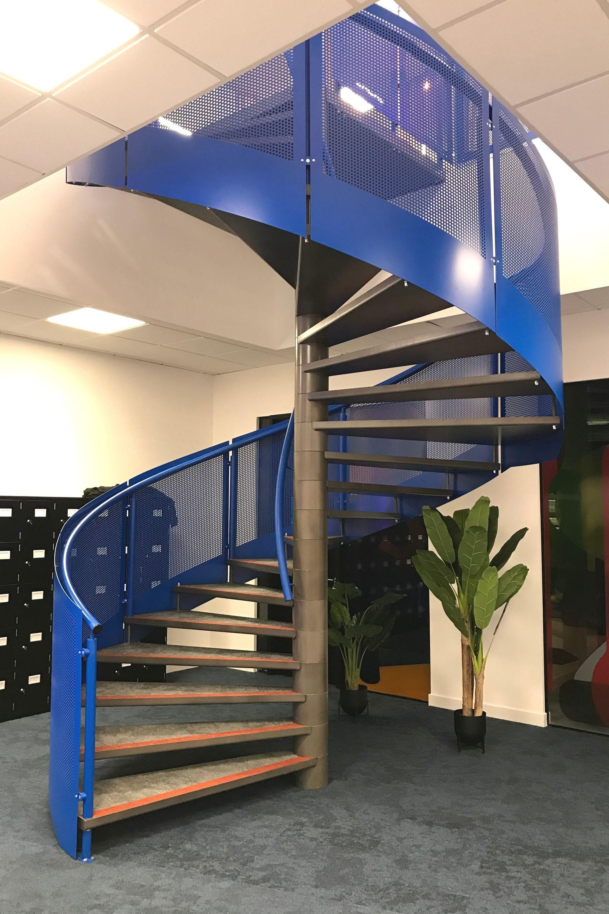 Blue office stairs