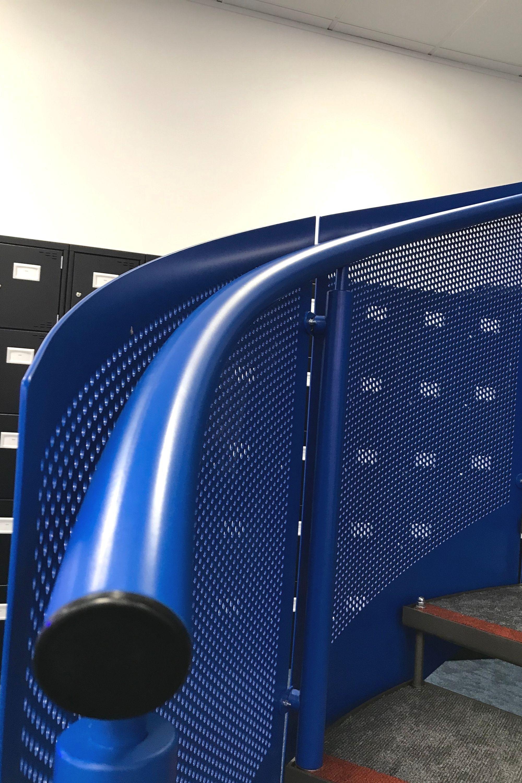 Blue steel handrail