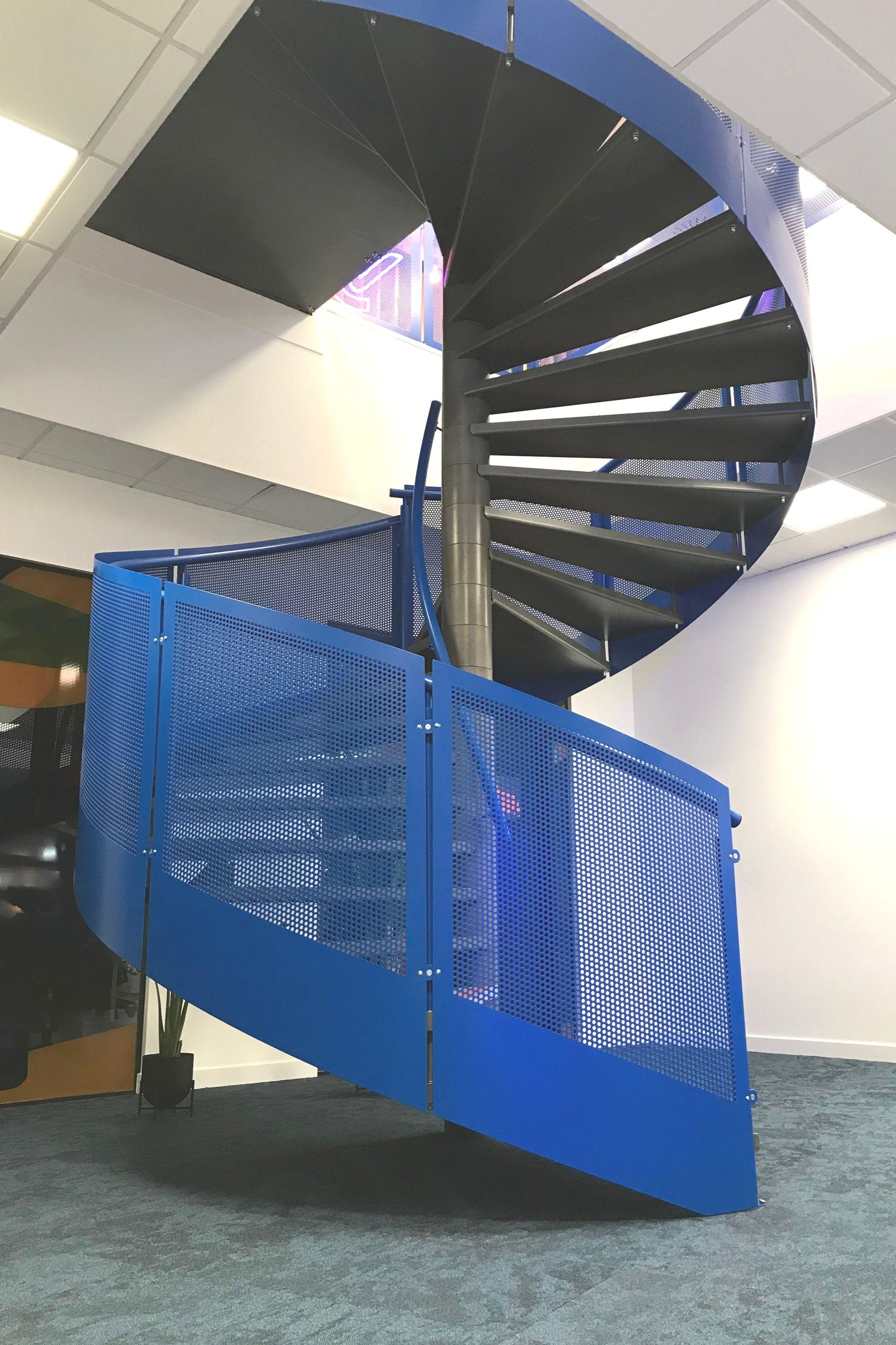 Blue steel spiral staircase