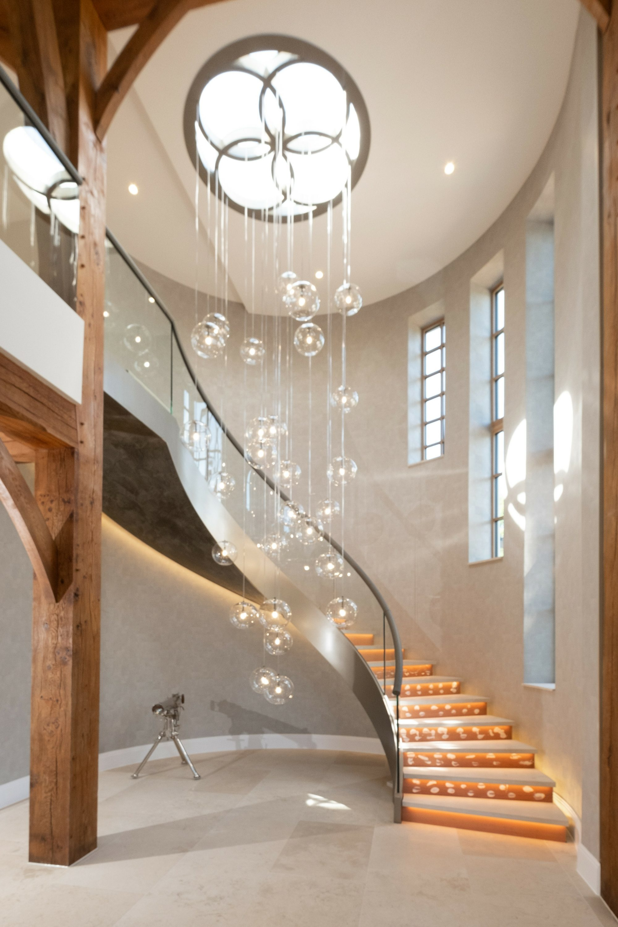 light falling on curved staircase