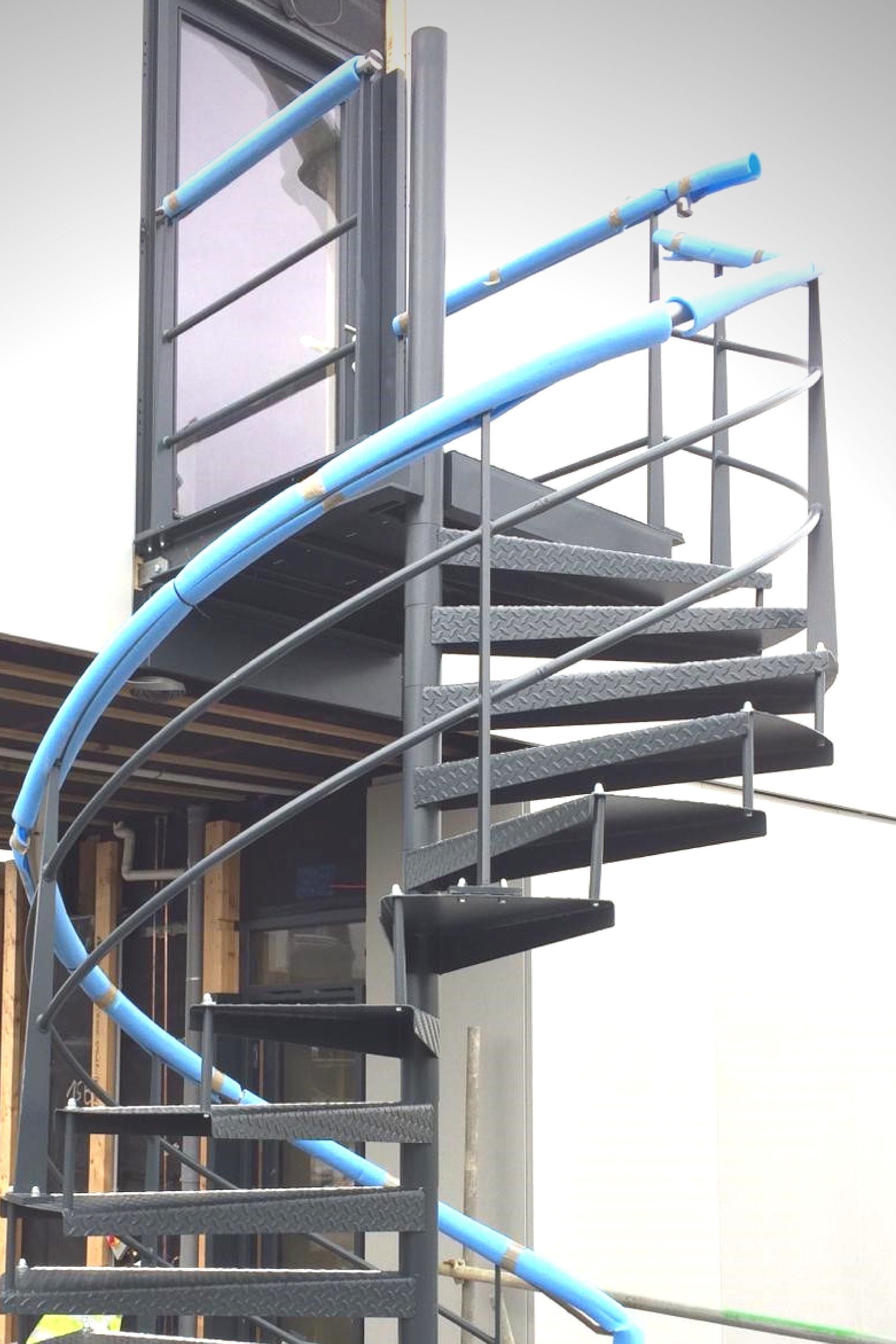External spiral staircase at Dyson Campus