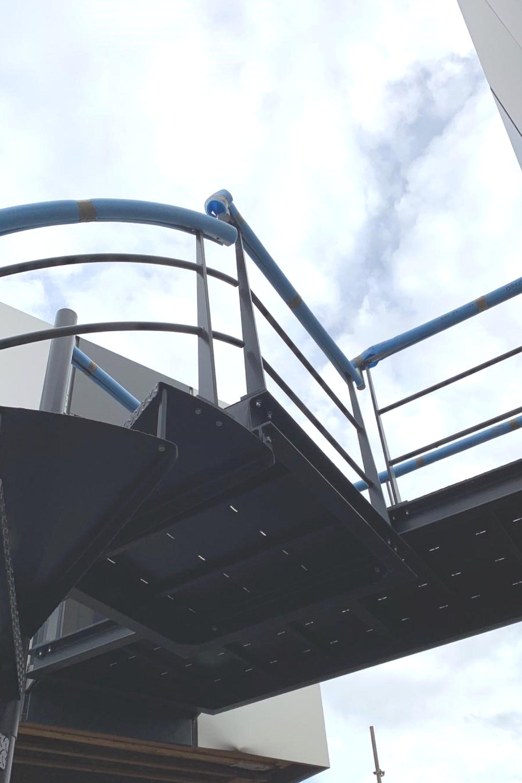 Escape stair landing at Dyson campus