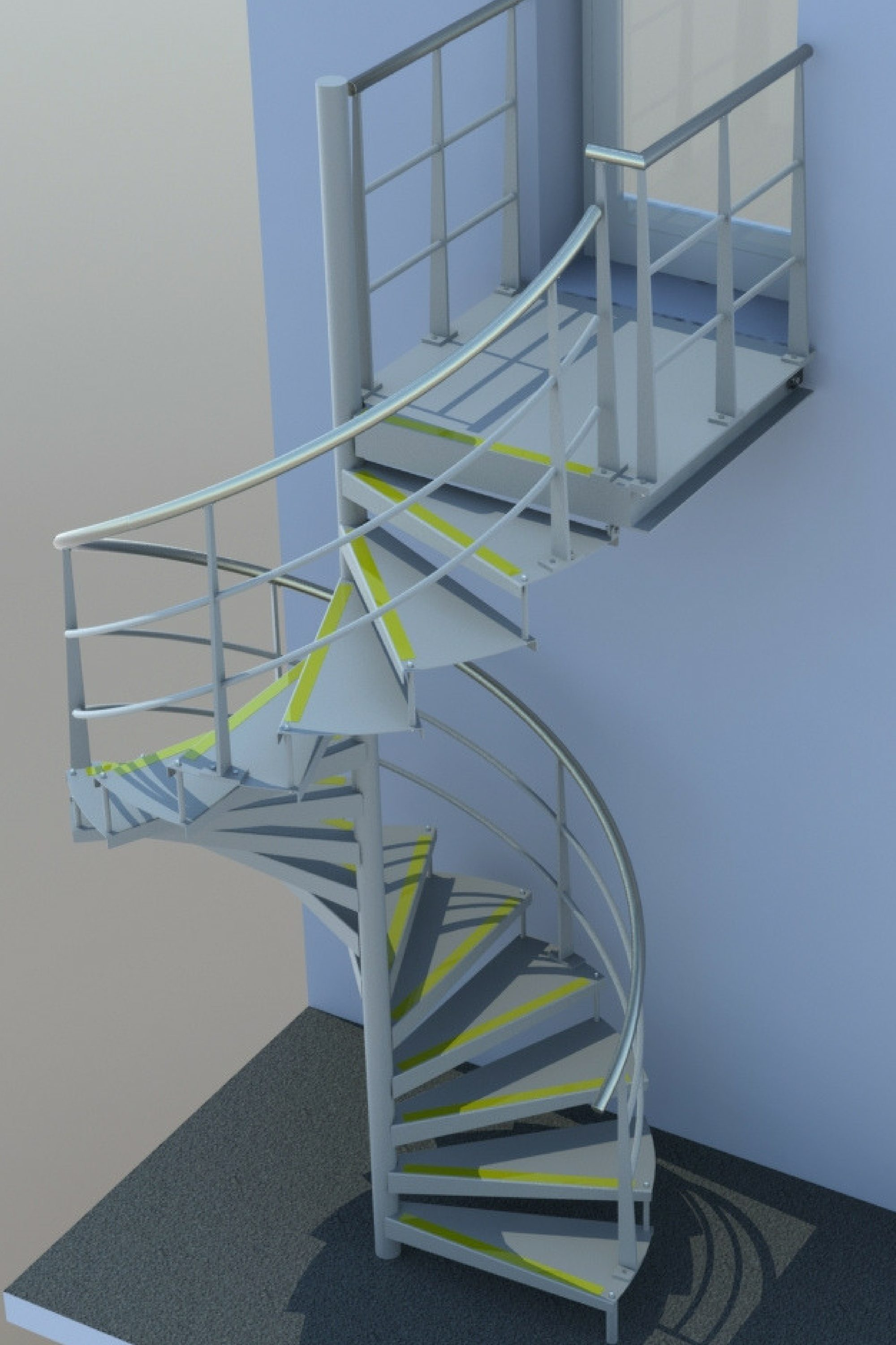 Render of Dyson fire escape stair