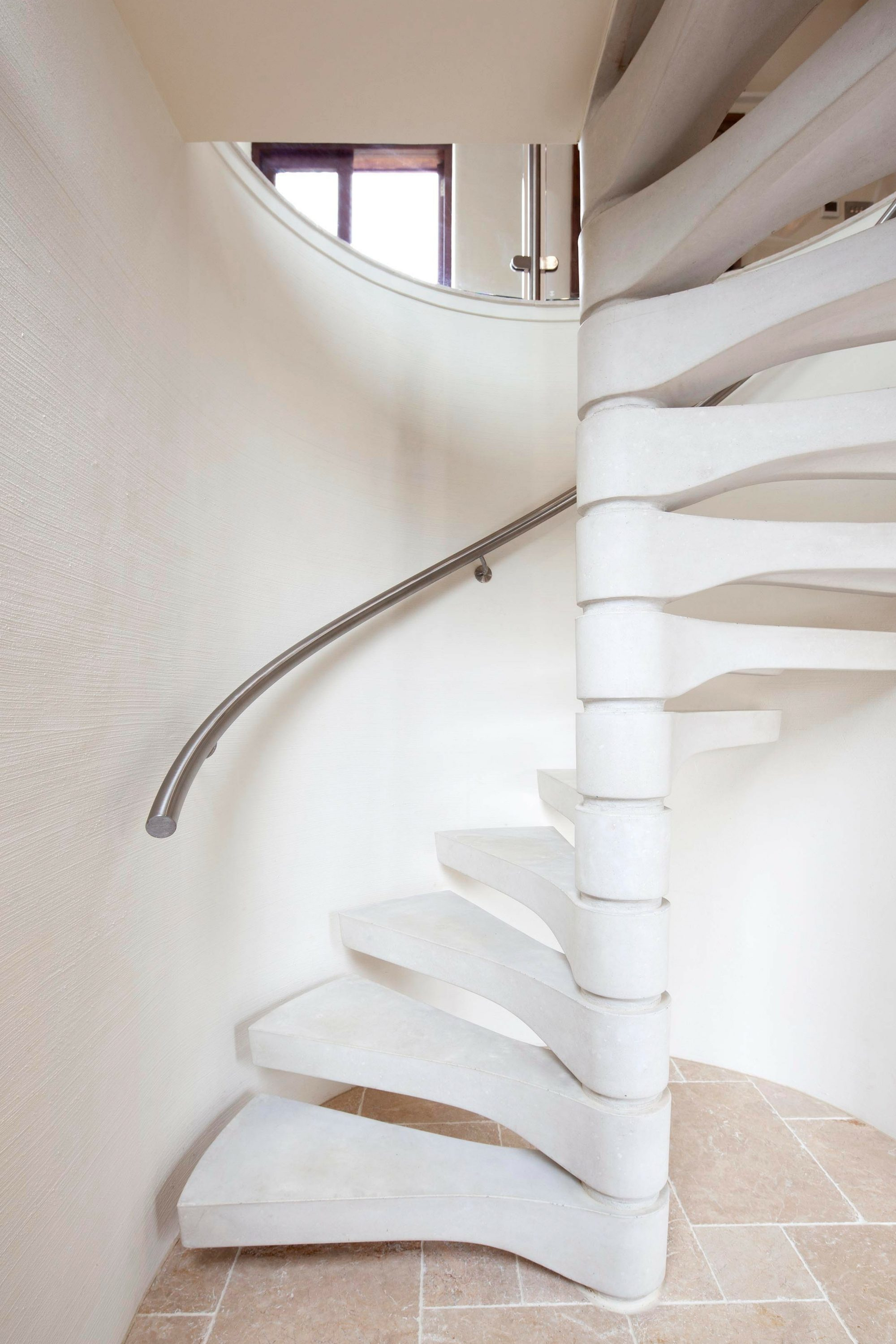 white concrete spiral stair