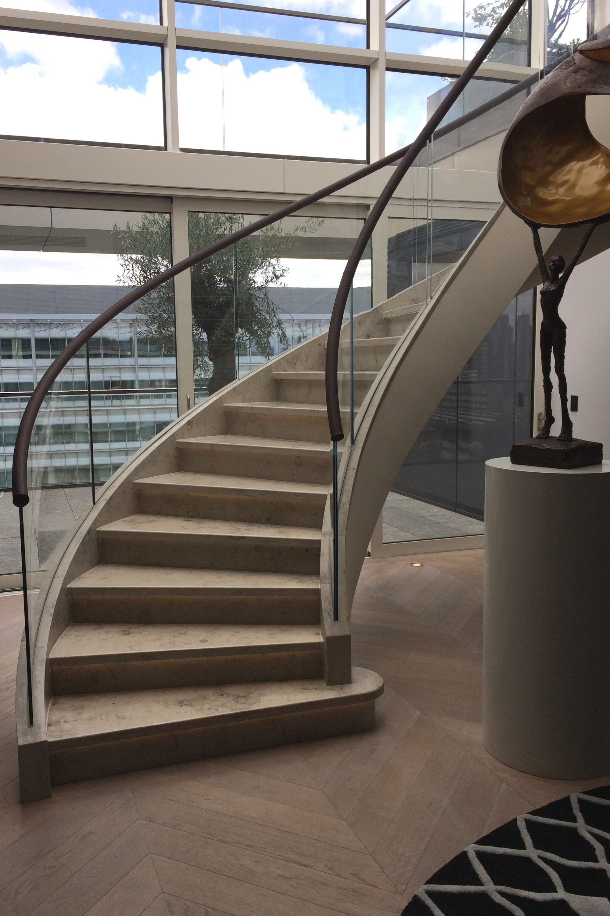 stone tread curved staircase