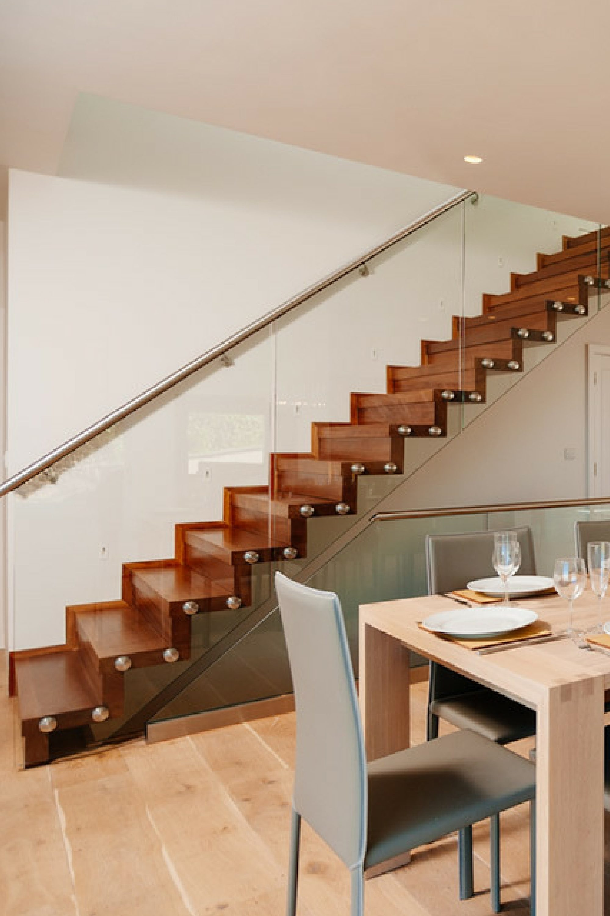 Straight timber staircase
