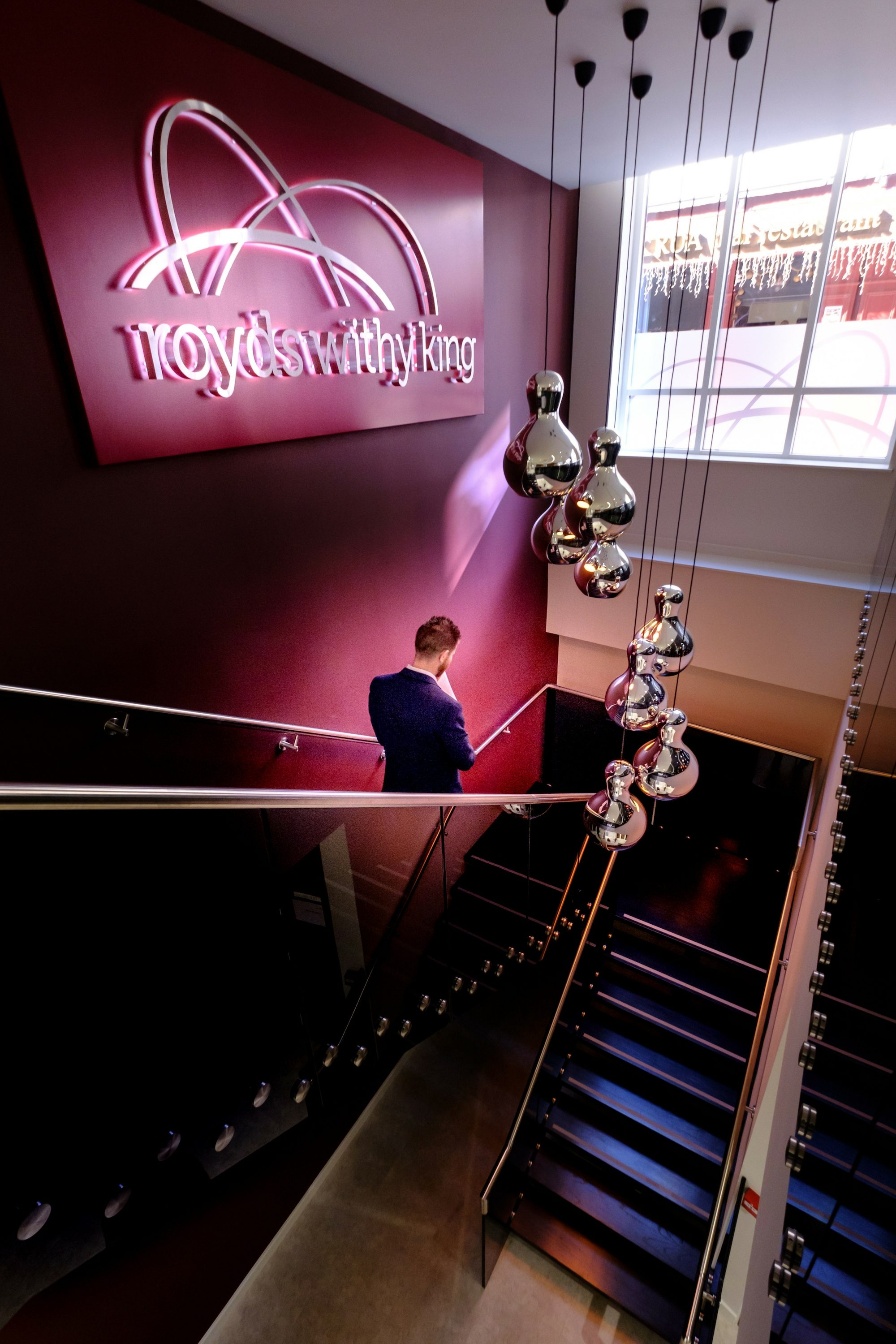 Straight office staircase