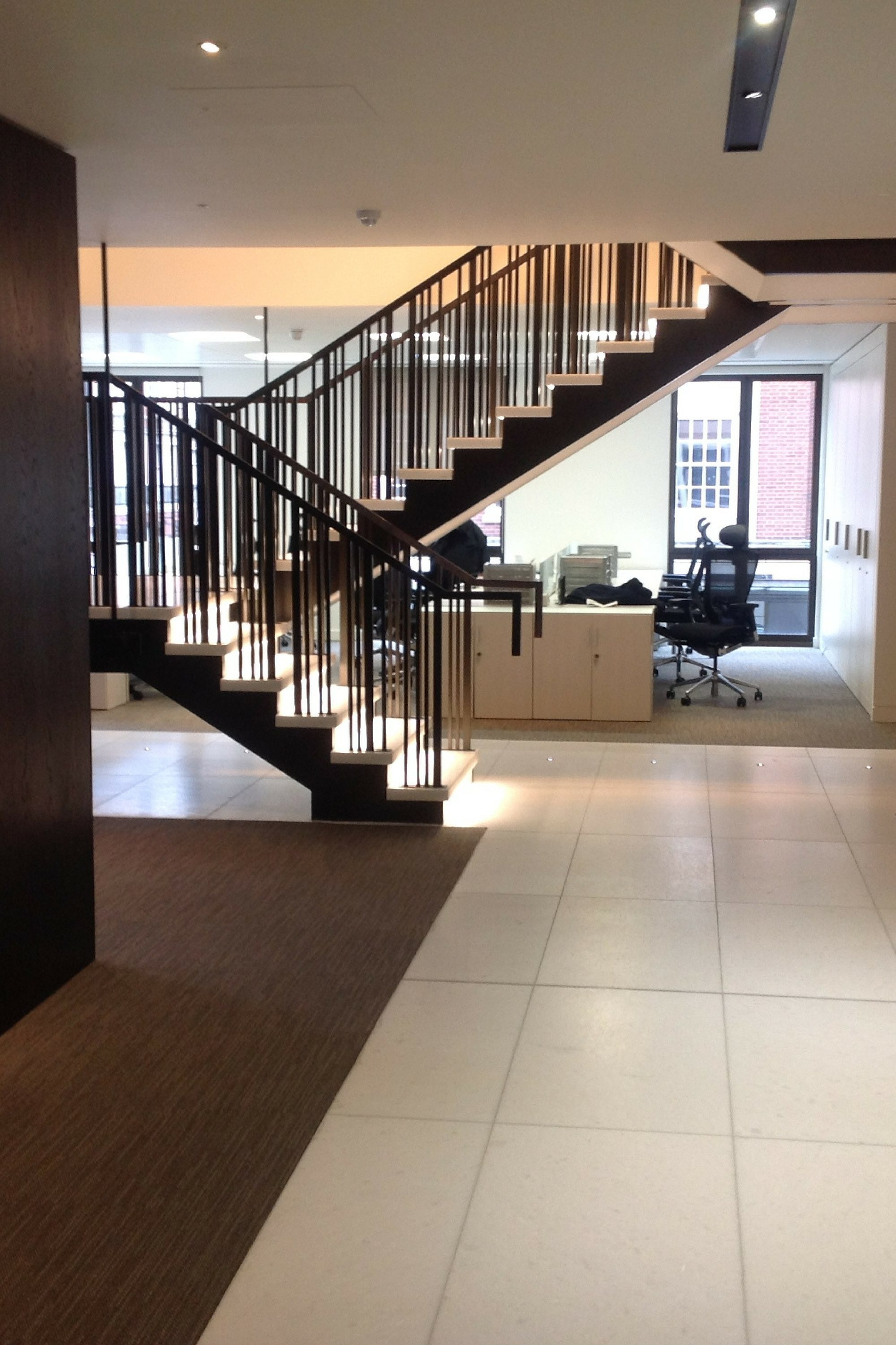Straight stair with striking balustrade