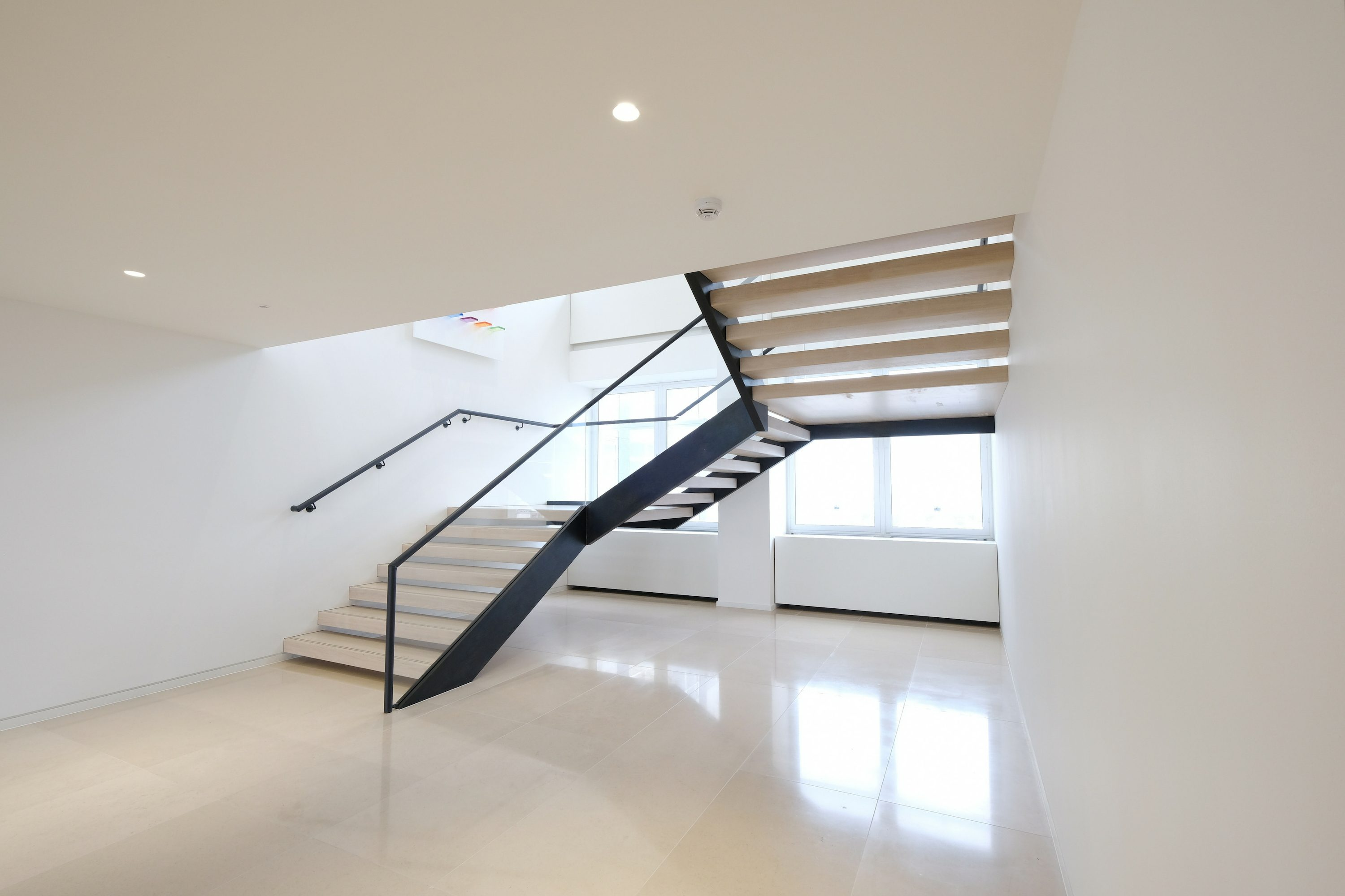 open riser straight staircase