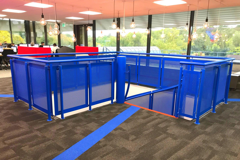 Blue perforated steel sheet balustrade
