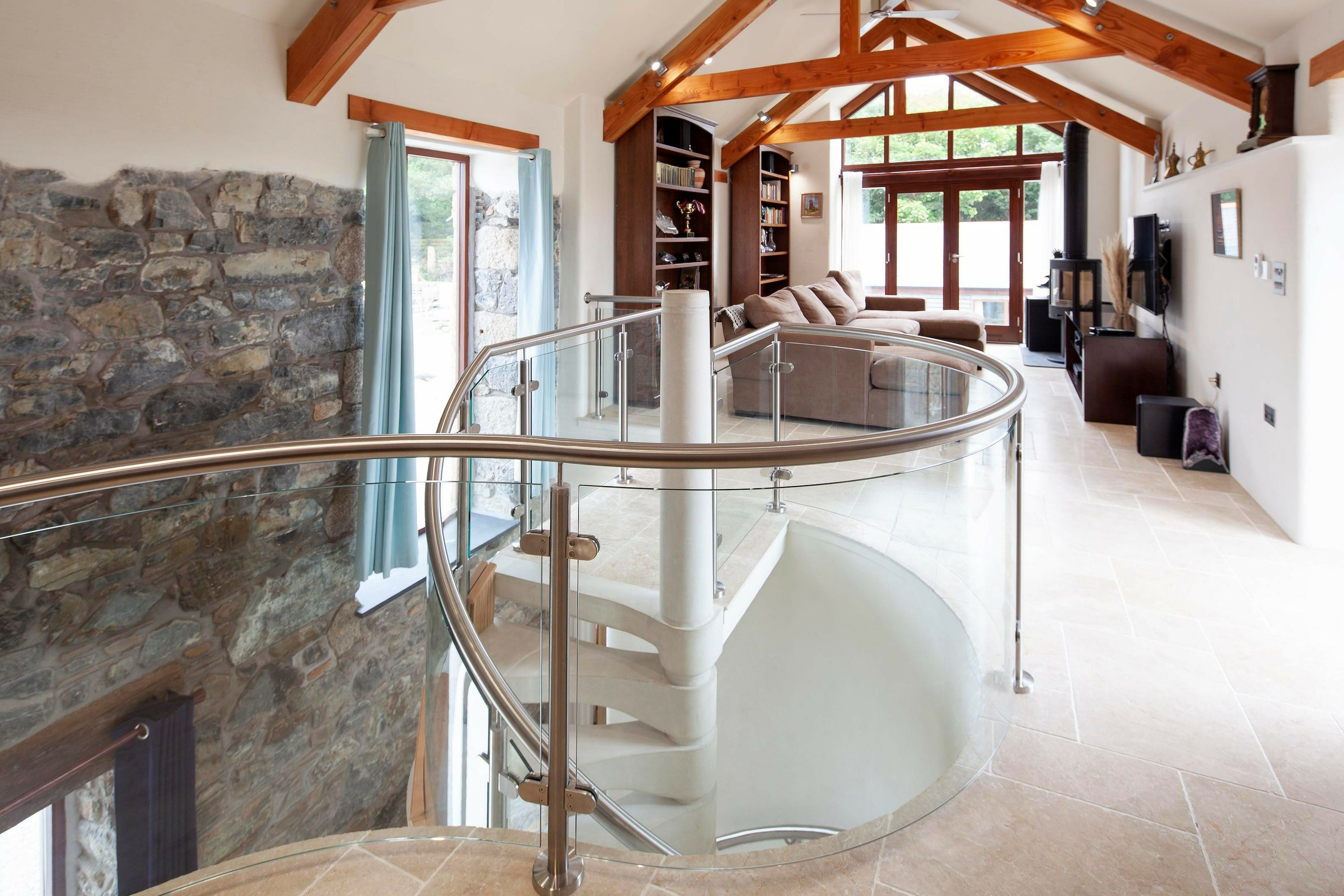 Glass balustrade and stainless steel handrail