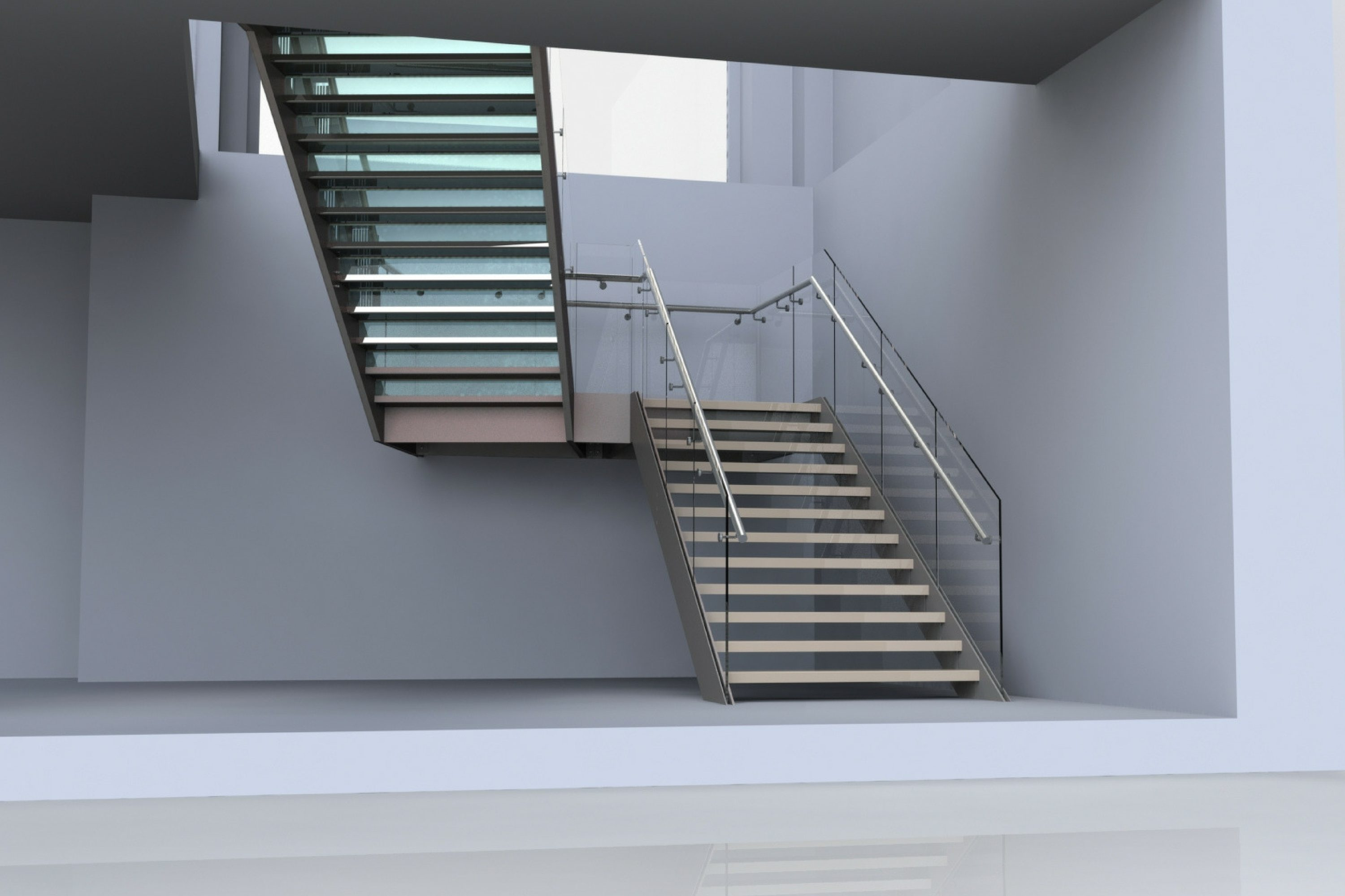 Render of tapered straight staircase