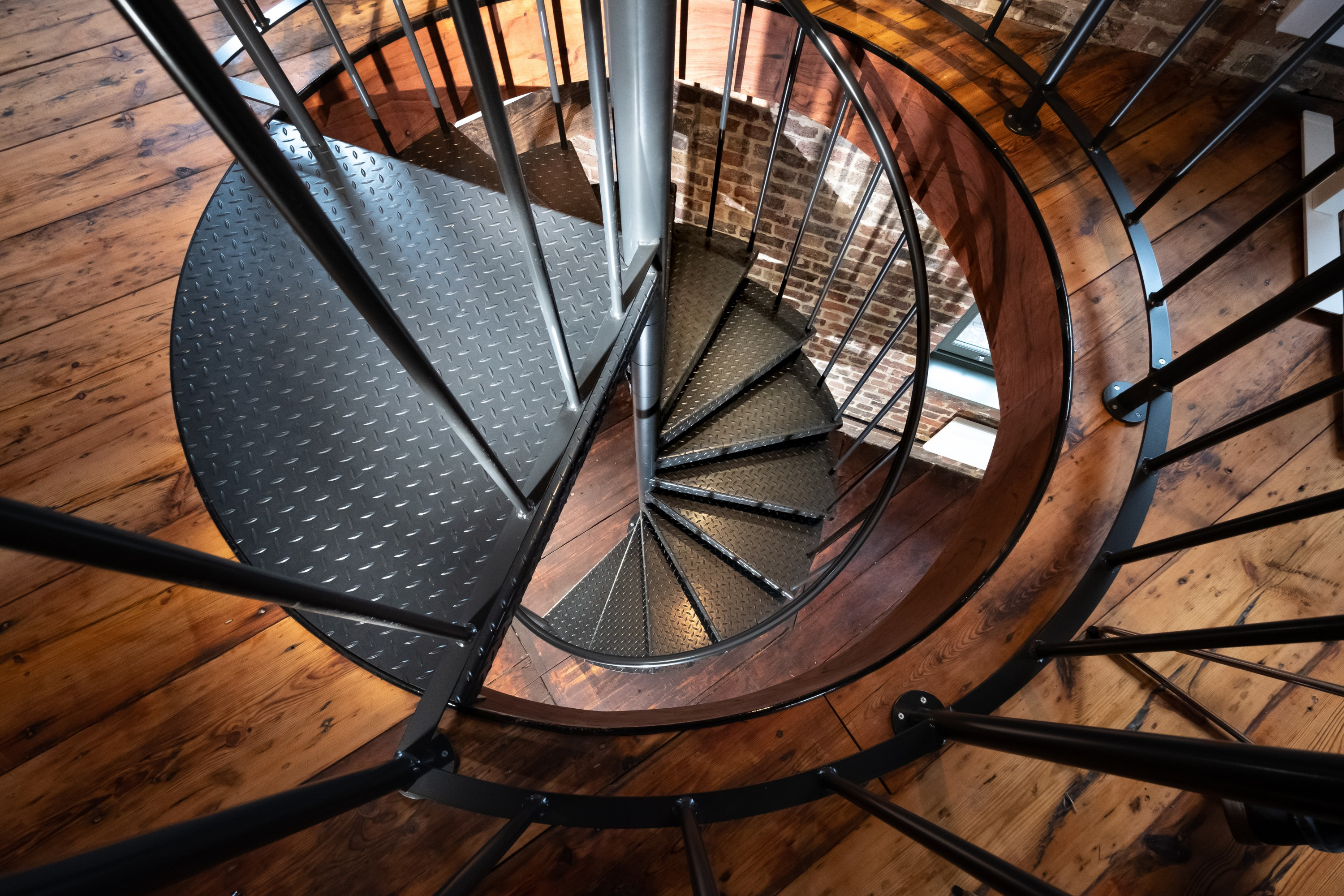Looking down on spiral stairs
