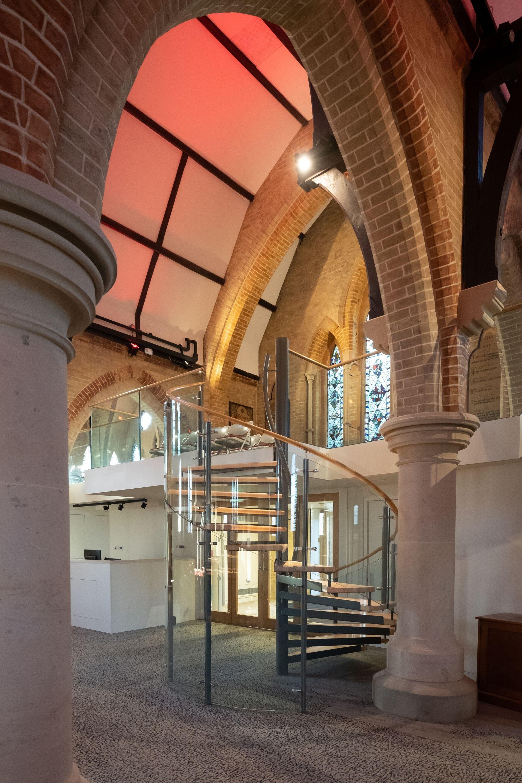spiral staircase in a church