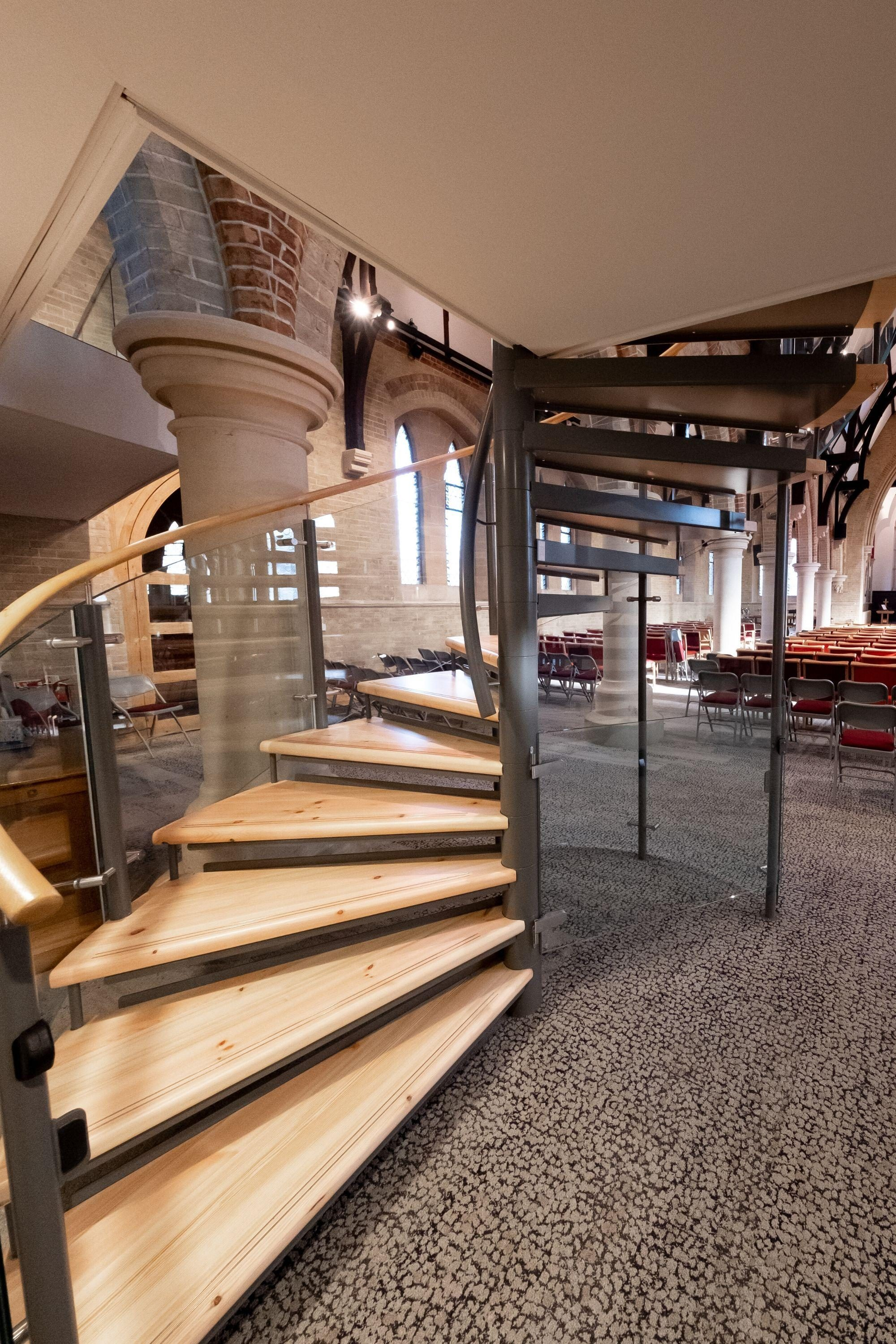 Timber tread on spiral staircase