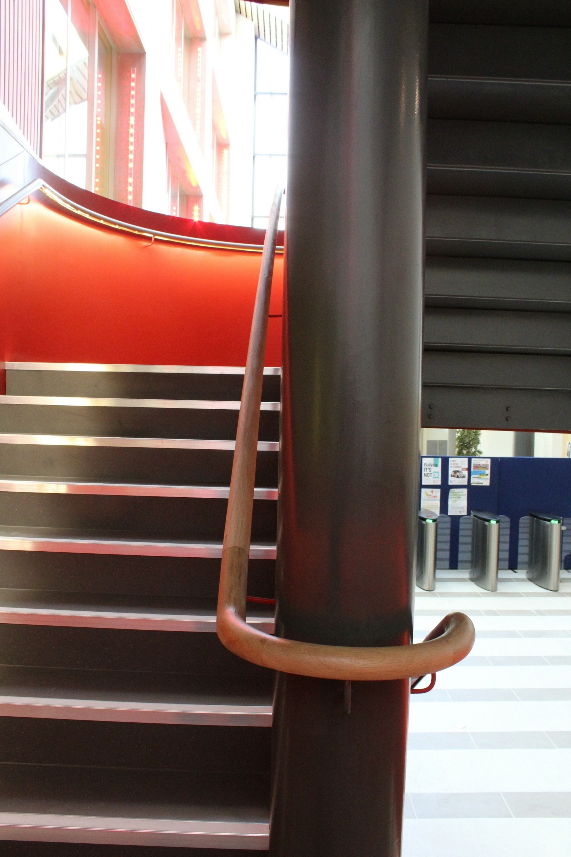 beautiful timber handrail on helical staircase