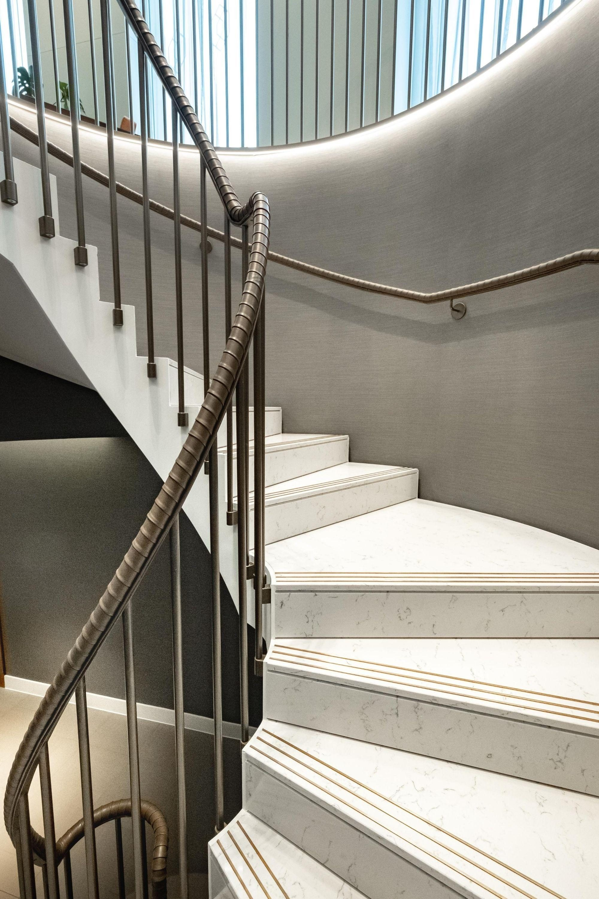 straight to helical stairs and balustrade