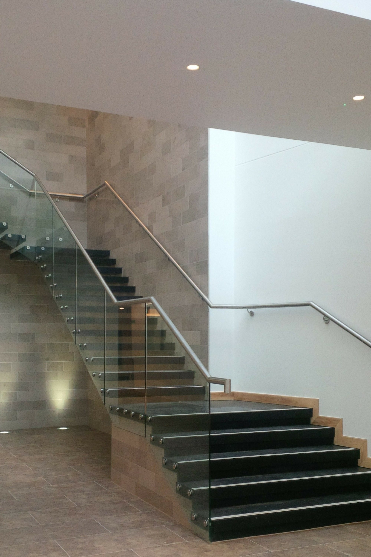 Black tread straight stair
