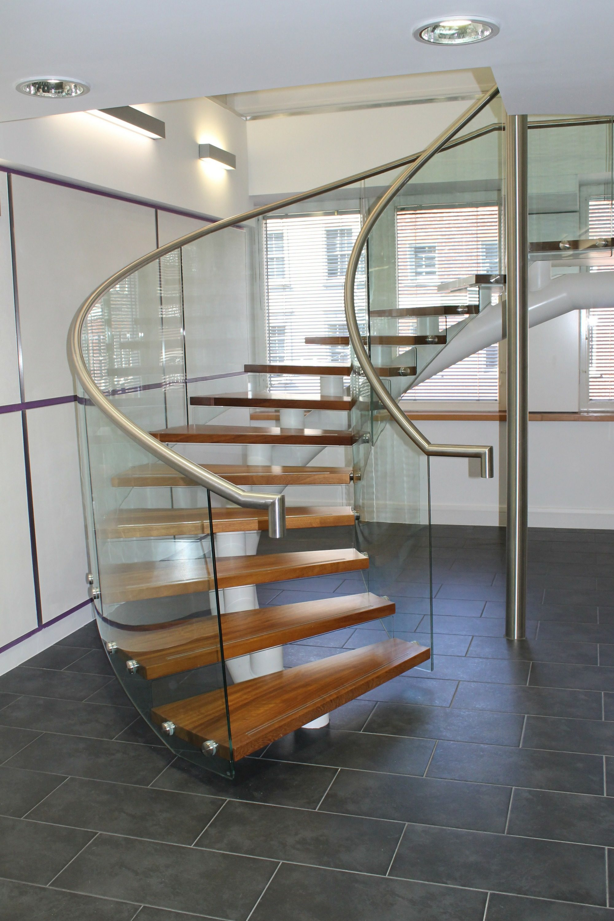Helical spine beam office stair