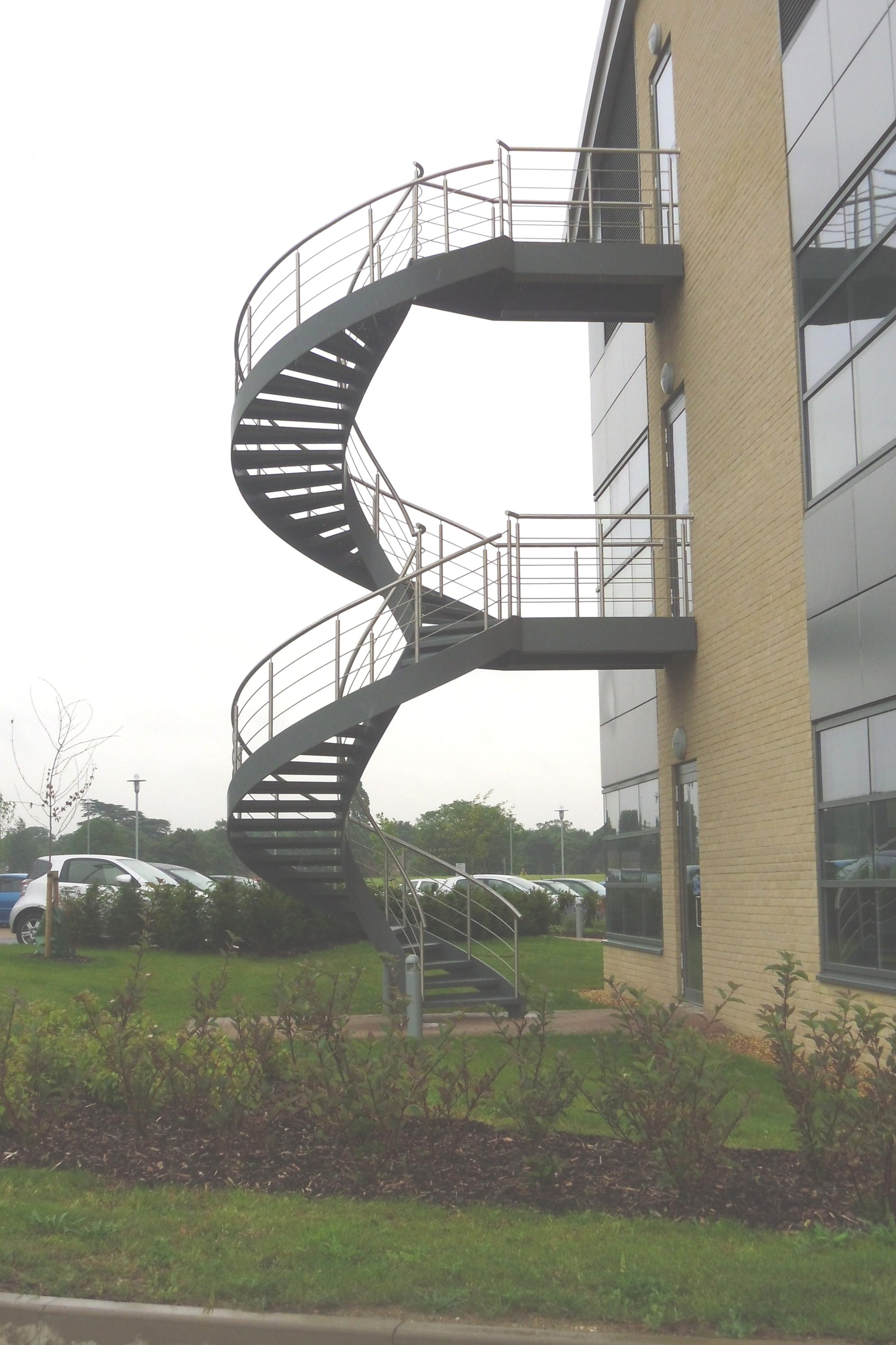 double flight helical fire escape stair