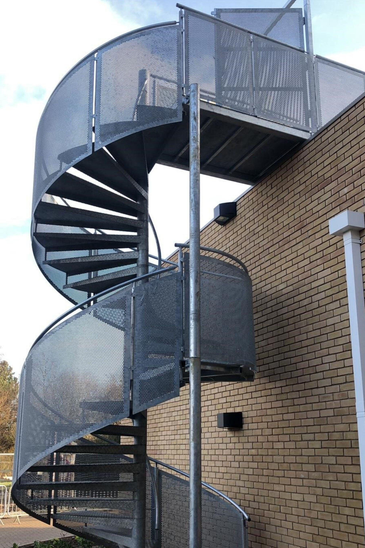 External spiral stairs fire escape