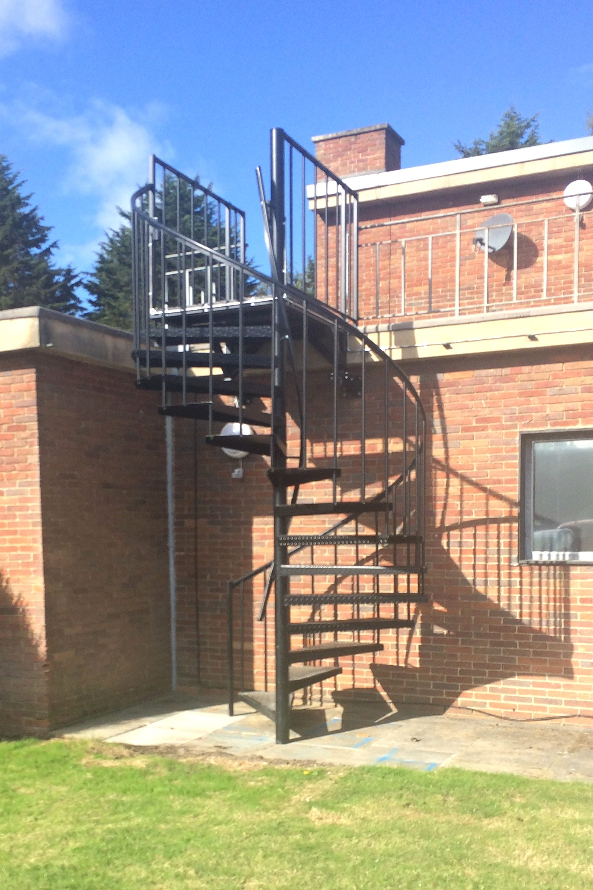 external fire escape stair on school building
