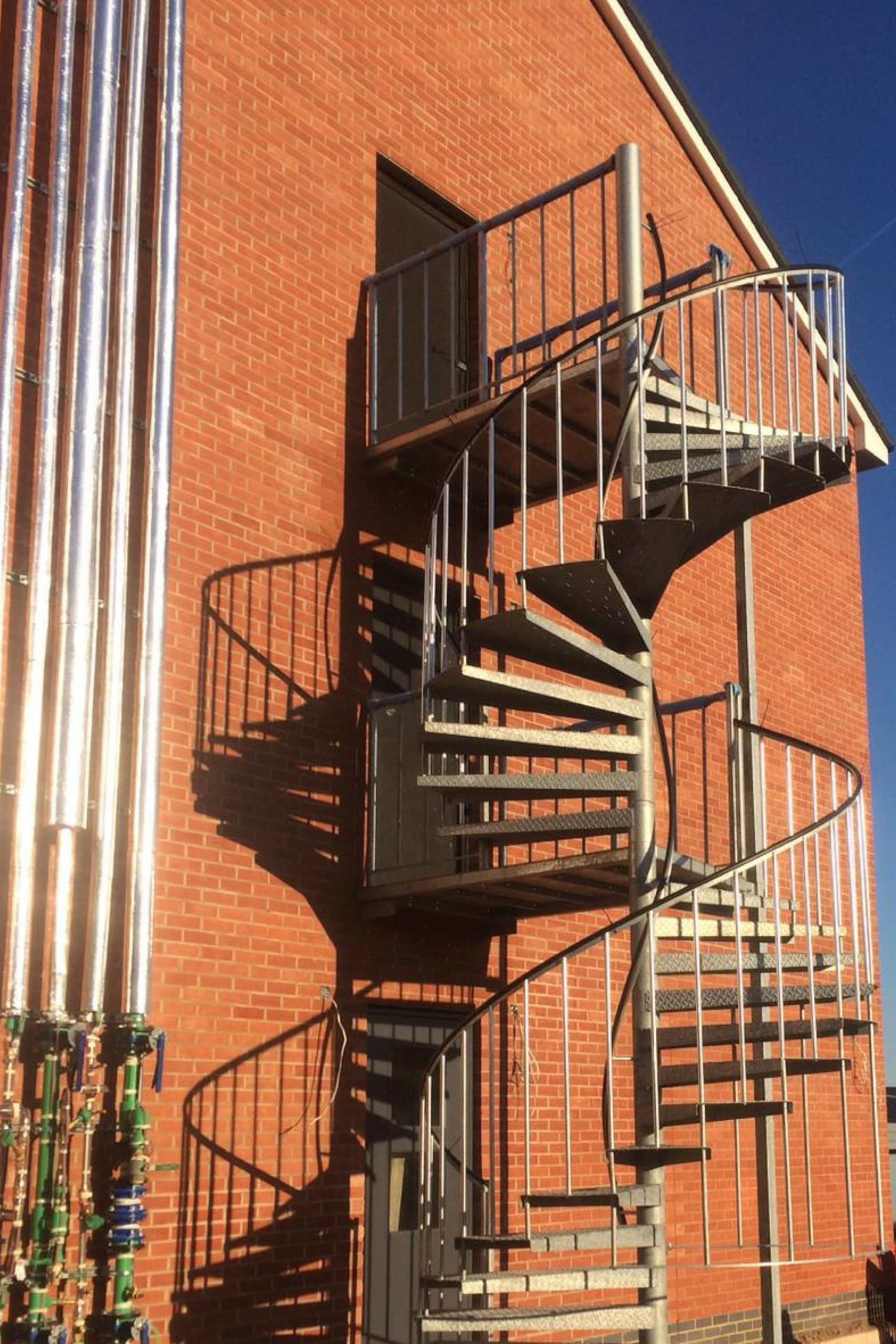 External steel spiral staircase
