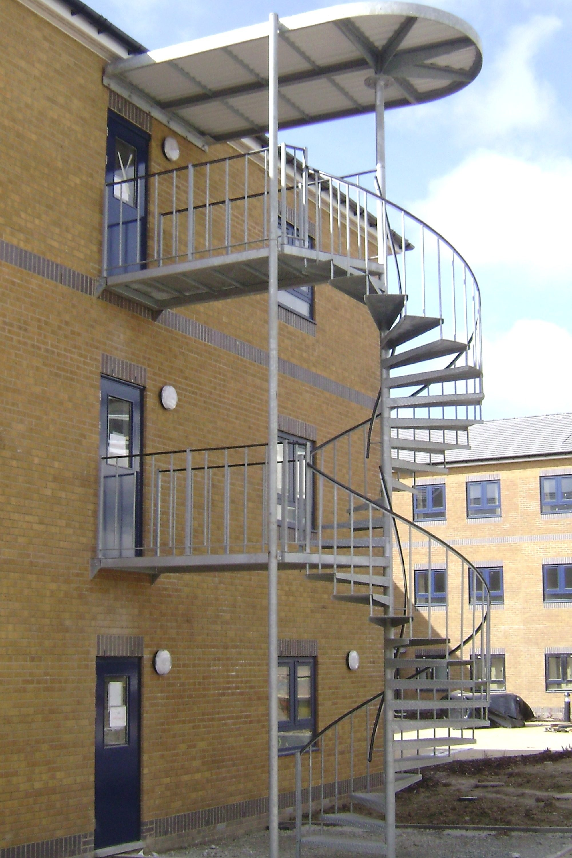 External spiral staircase with landings