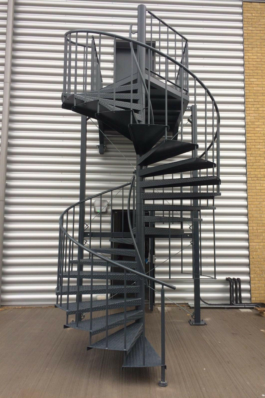 Black spiral escape stair
