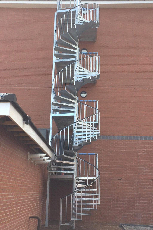 External spiral fire escape stair