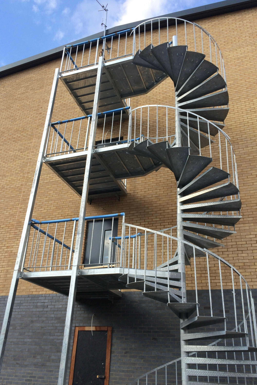 External fire escape staircase