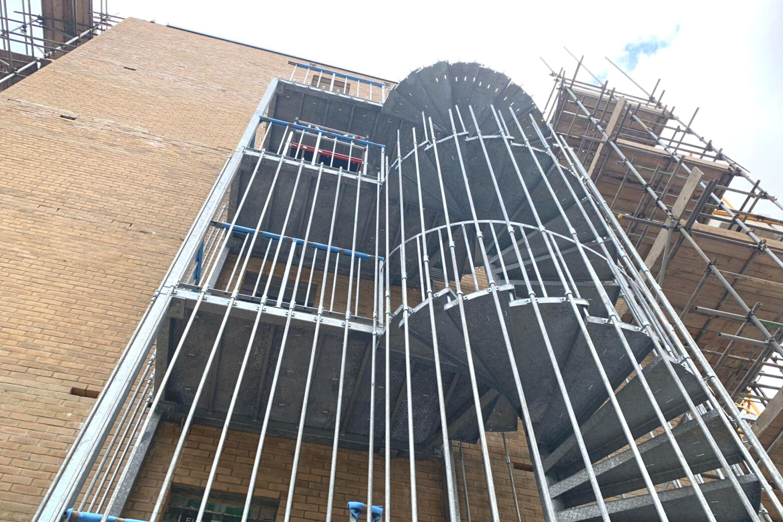 spiral fire escape stair housing