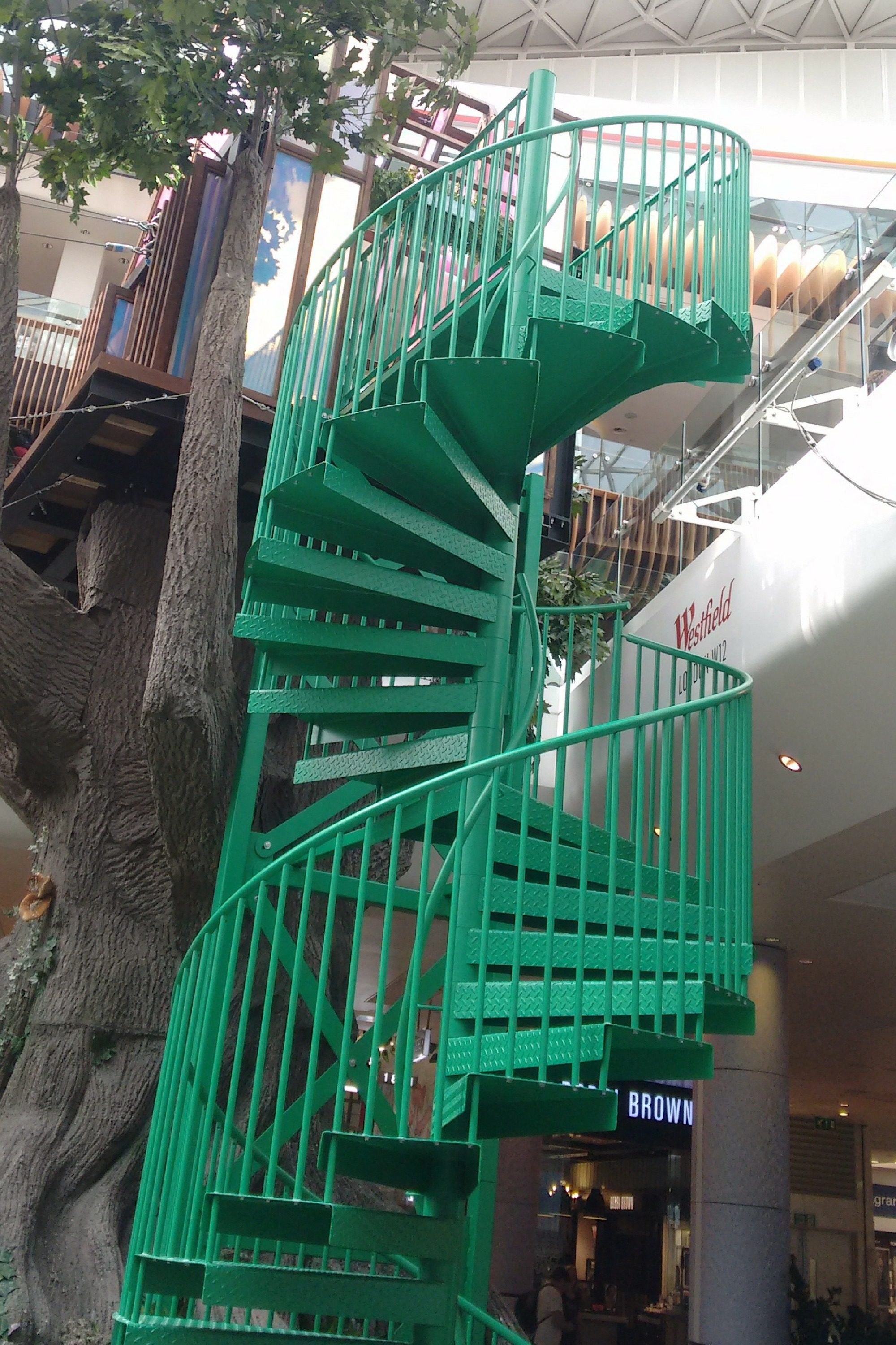 Green Powder Coated spiral staircase