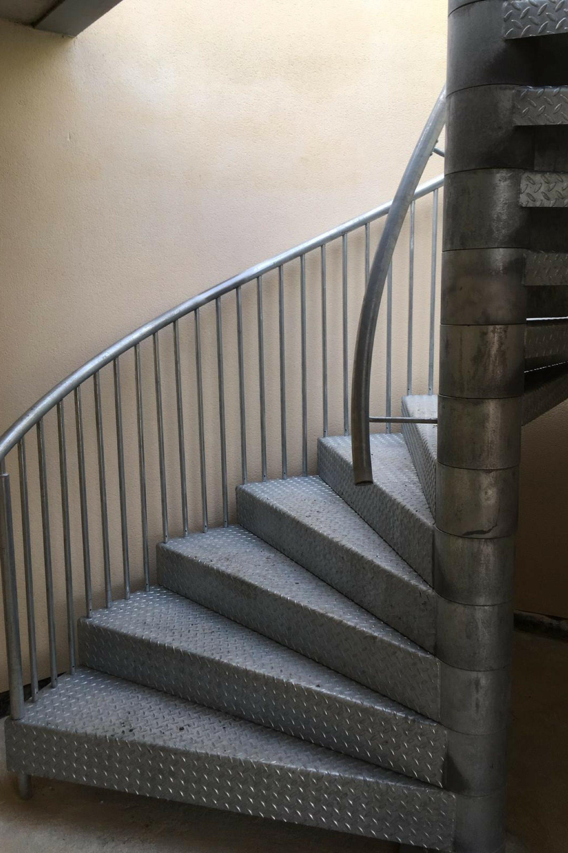 Steel spiral access stair