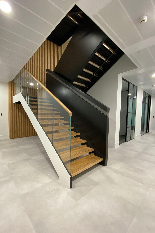 Dog legged office stair