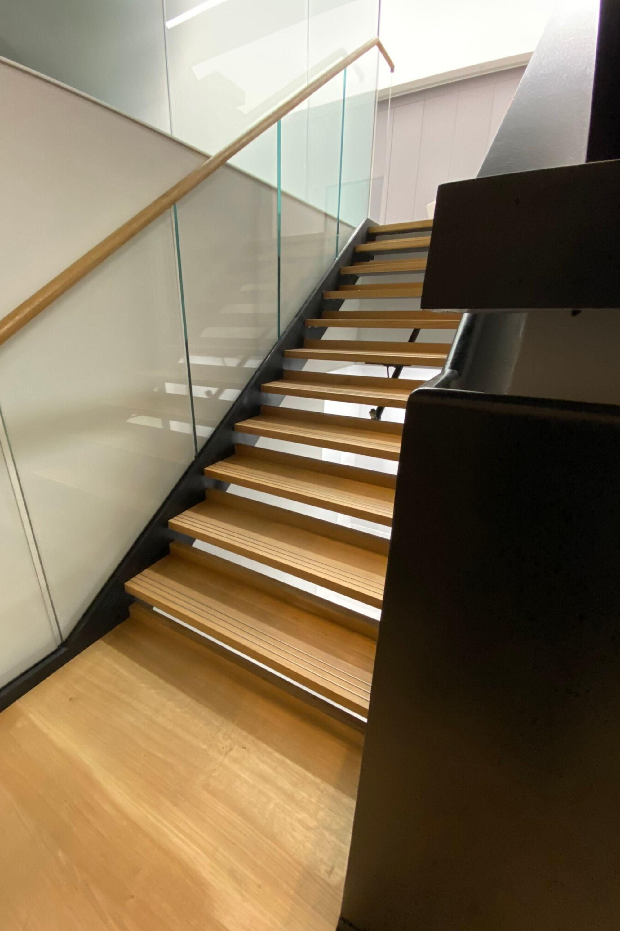 Fit out office staircase with open risers