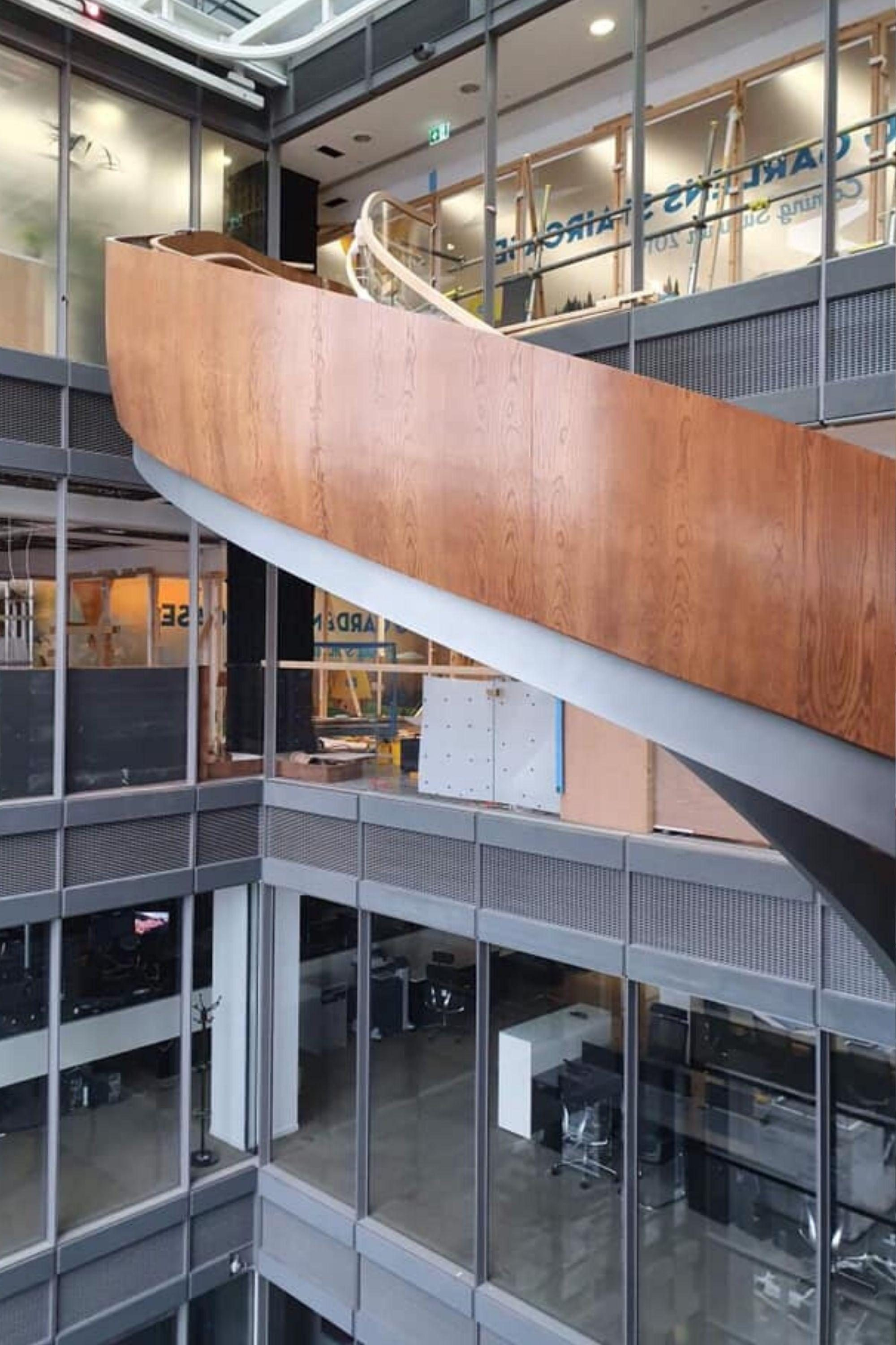 Timber clad office staircase